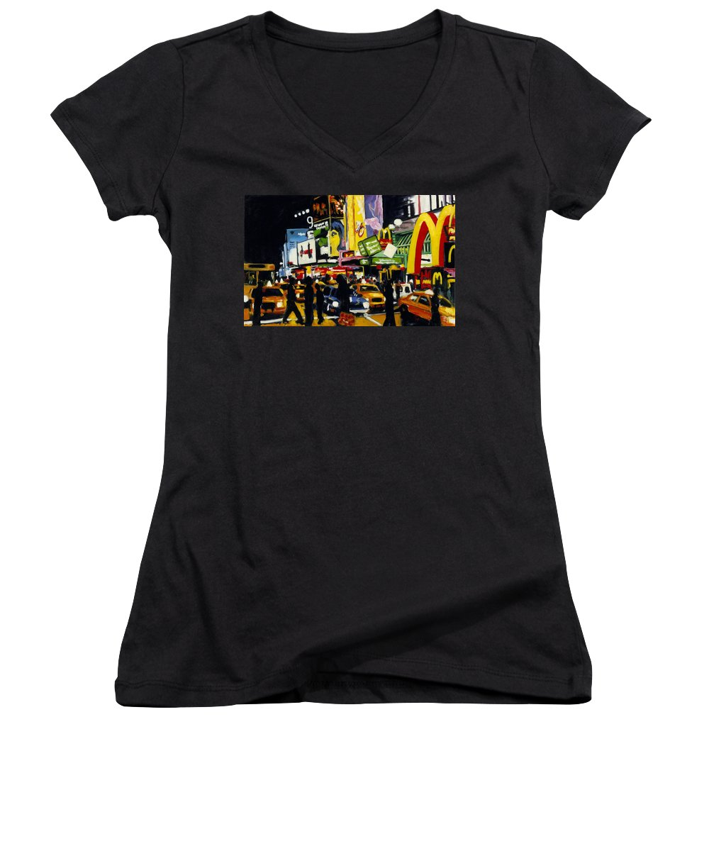 New York Women's V-Neck T-Shirt featuring the painting Nyc II The Temple Of M by Robert Reeves