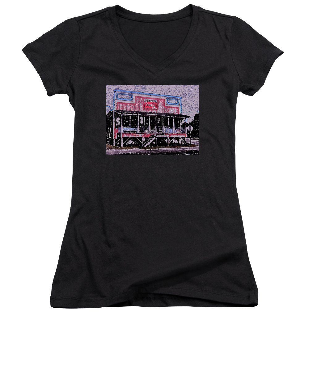 Retail Women's V-Neck (Athletic Fit) featuring the photograph Ocracoke Island Shop by Wayne Potrafka