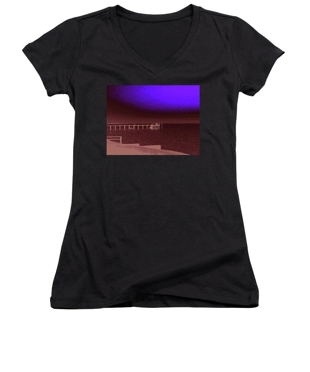 Ocracoke Women's V-Neck T-Shirt featuring the photograph Ocracoke Shoreline Pier by Wayne Potrafka