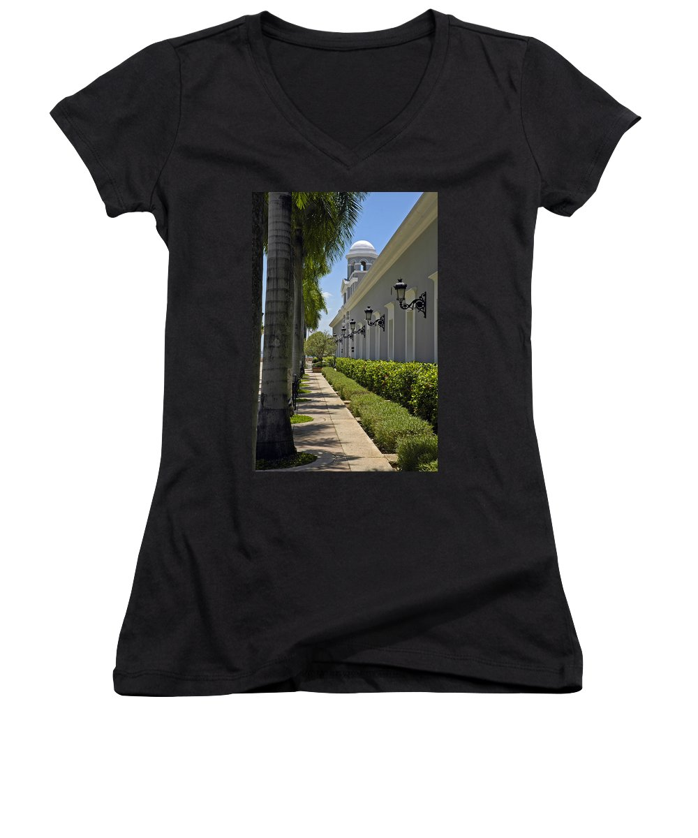 Travel Women's V-Neck T-Shirt featuring the photograph Old San Juan Puerto Rico by Tito Santiago