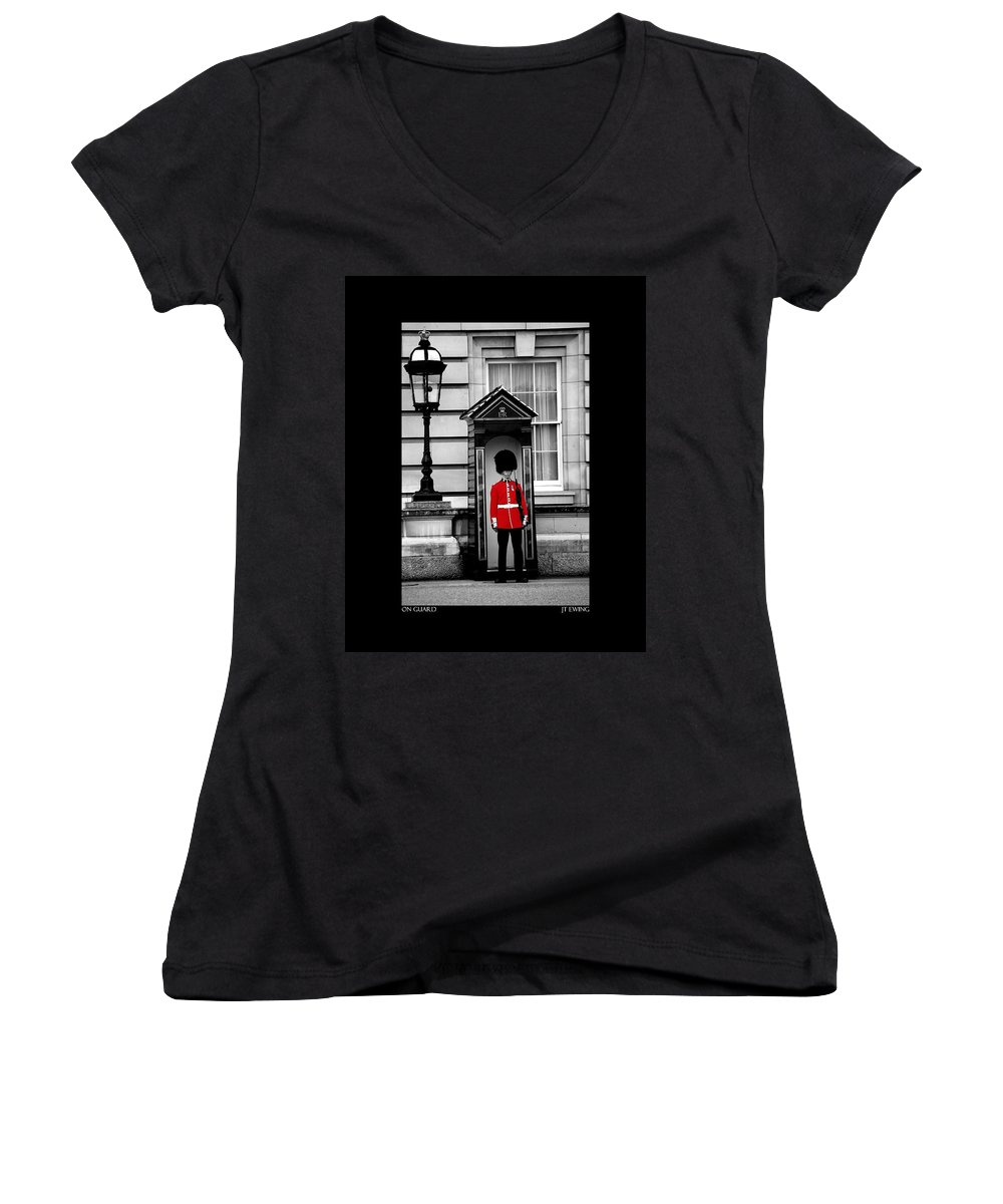 London Women's V-Neck (Athletic Fit) featuring the photograph On Guard by J Todd