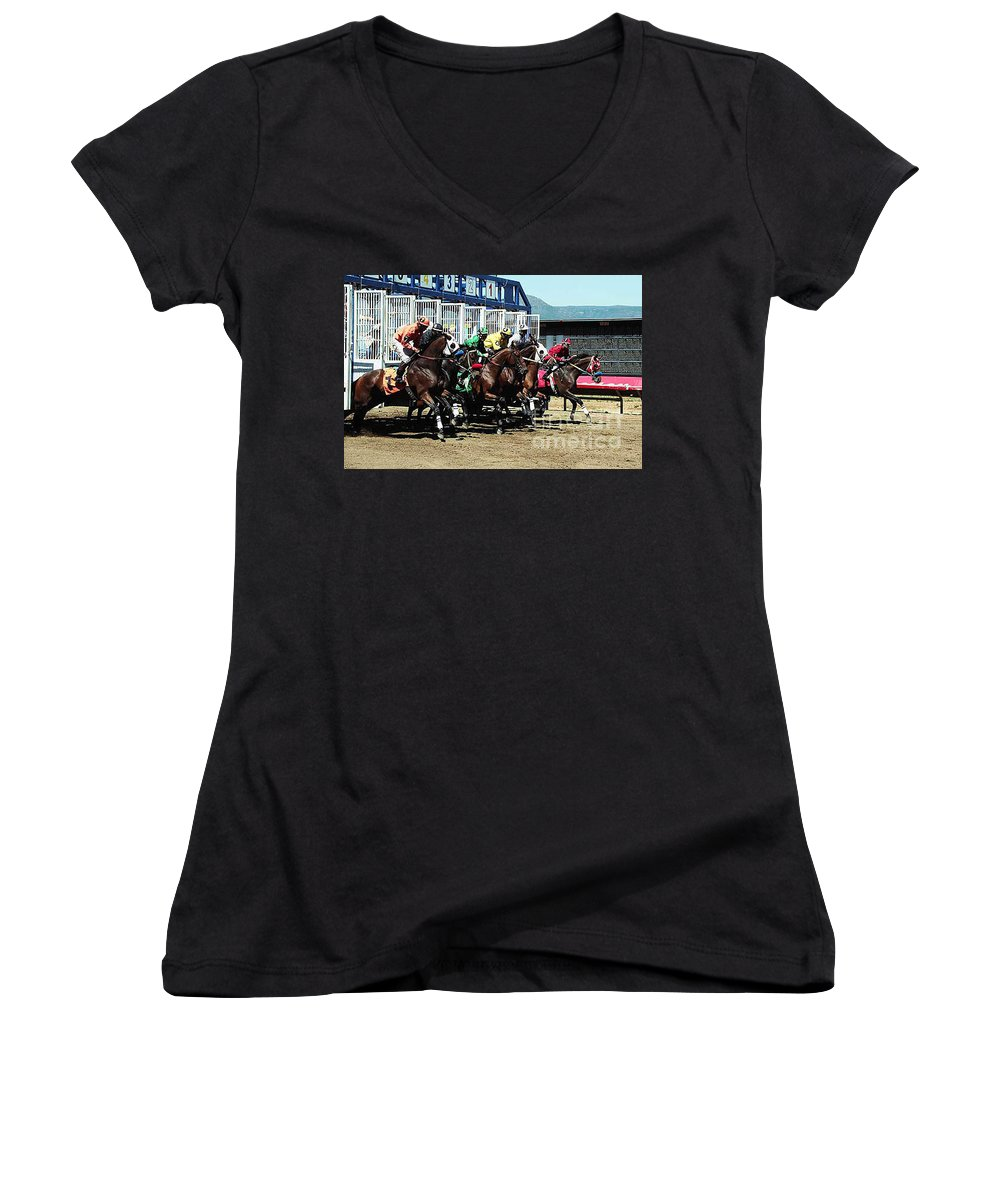 Horse Women's V-Neck T-Shirt featuring the photograph Only A Mile To Go by Kathy McClure