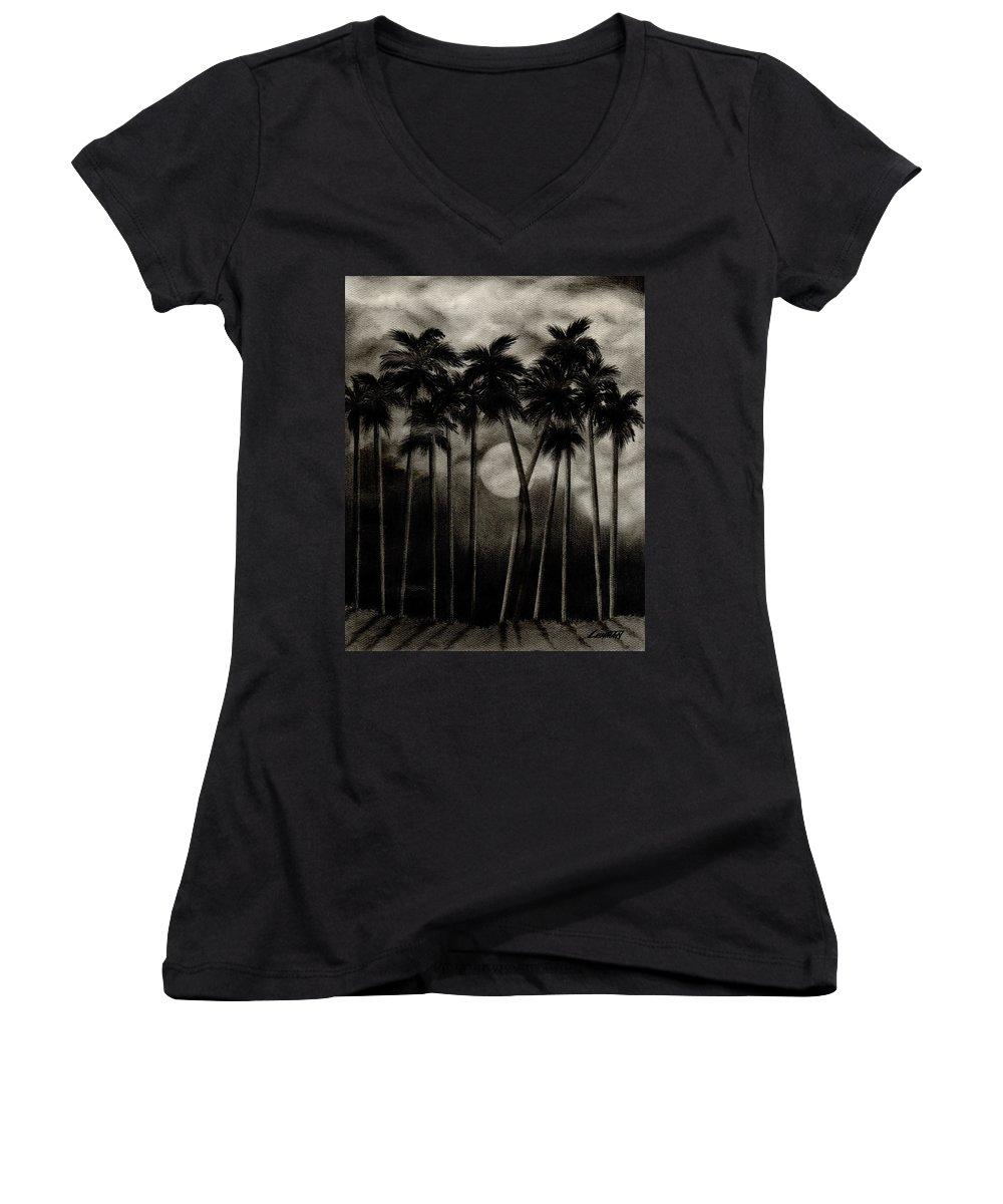 Original Moonlit Palm Trees Women's V-Neck T-Shirt featuring the drawing Original Moonlit Palm Trees by Larry Lehman
