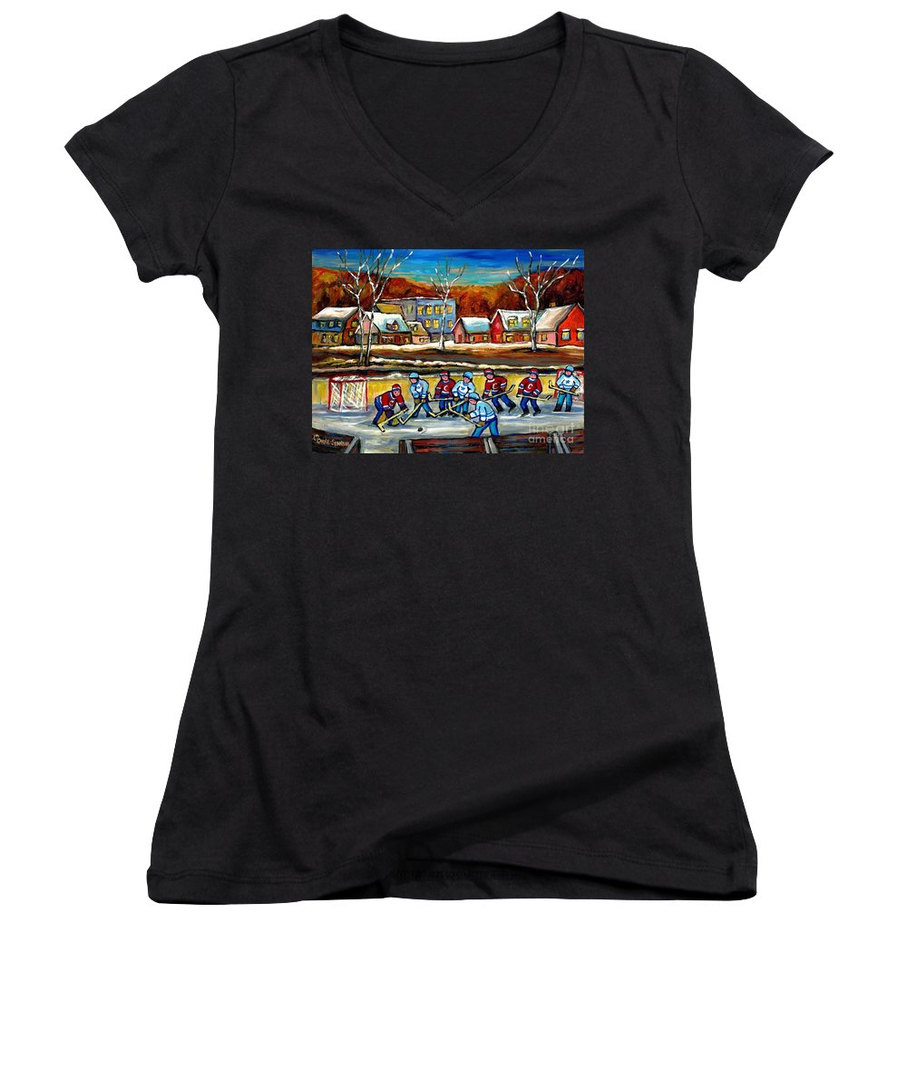 Country Hockey Rink Women's V-Neck (Athletic Fit) featuring the painting Outdoor Hockey Rink by Carole Spandau