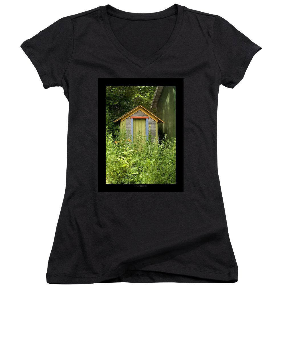 Outhouse Women's V-Neck (Athletic Fit) featuring the photograph Outhouse by Tim Nyberg