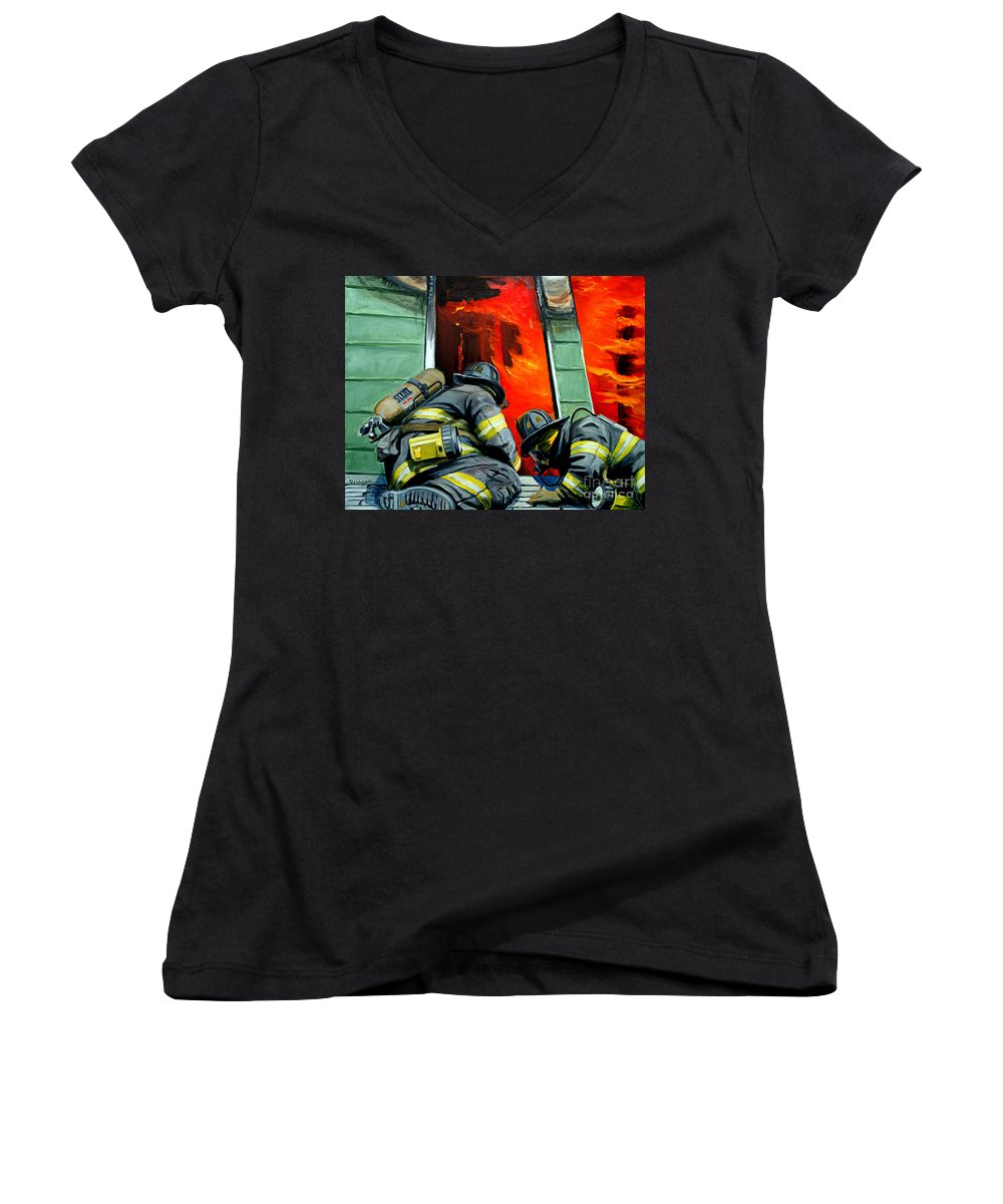 Firefighting Women's V-Neck T-Shirt featuring the painting Outside Roof by Paul Walsh