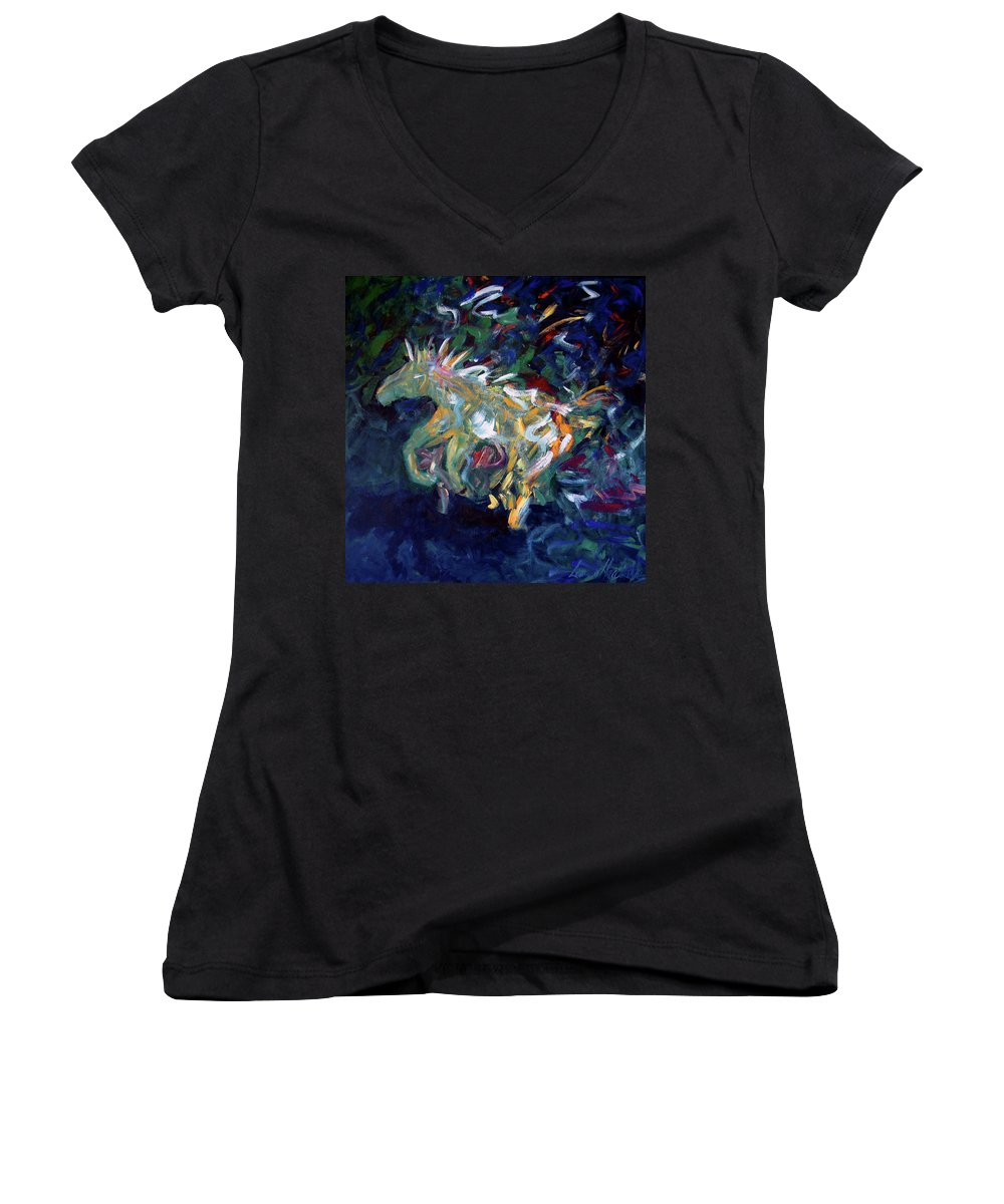 Abstract Horse Women's V-Neck (Athletic Fit) featuring the painting Painted Pony by Lance Headlee