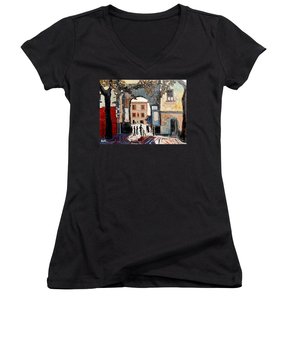 Tuscany Women's V-Neck (Athletic Fit) featuring the painting Palazzo Vecchio by Kurt Hausmann