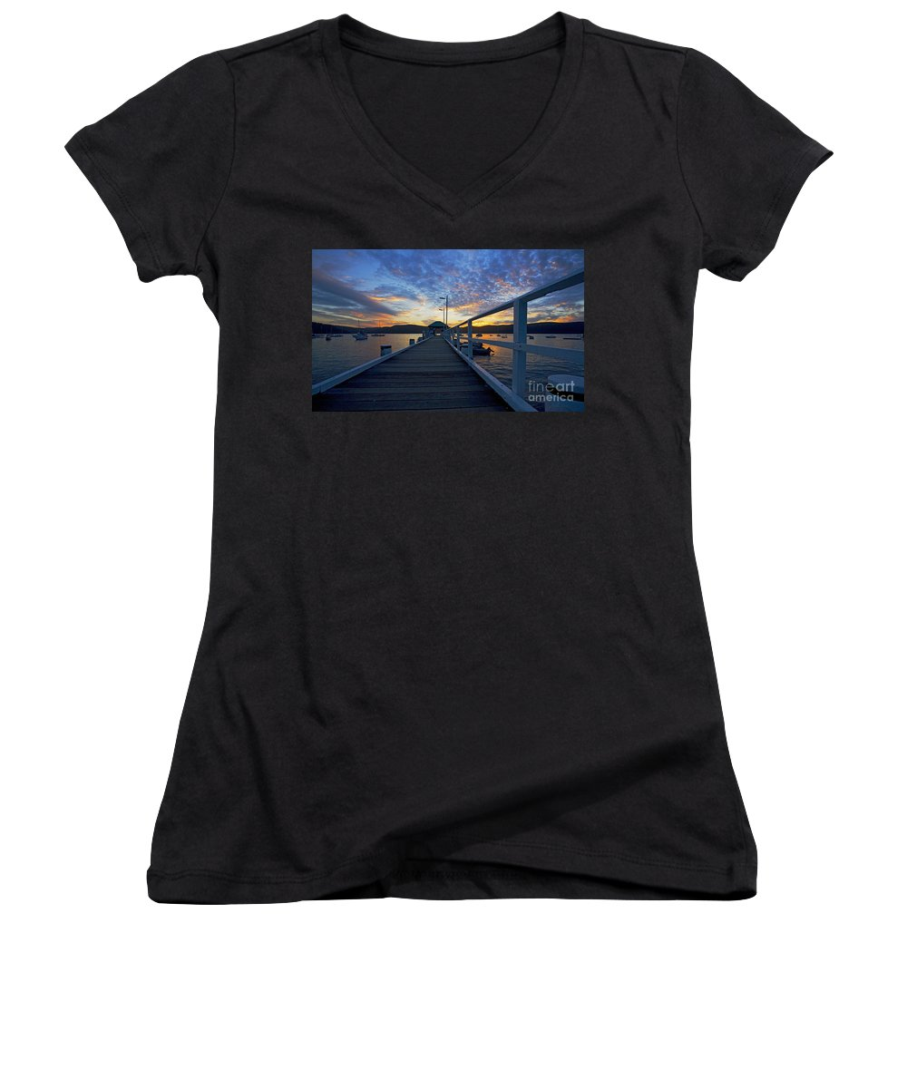 Palm Beach Sydney Wharf Sunset Dusk Water Pittwater Women's V-Neck T-Shirt featuring the photograph Palm Beach Wharf At Dusk by Avalon Fine Art Photography