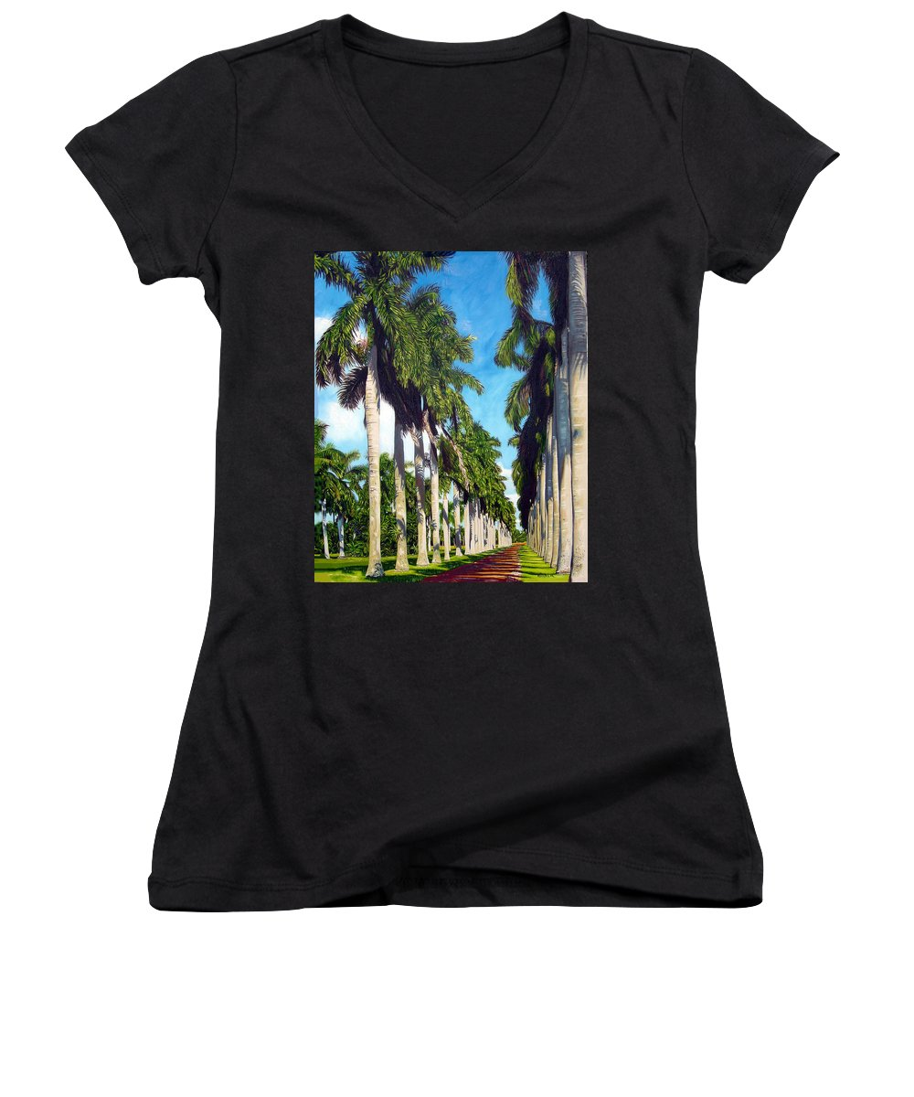 Palms Women's V-Neck (Athletic Fit) featuring the painting Palms by Jose Manuel Abraham