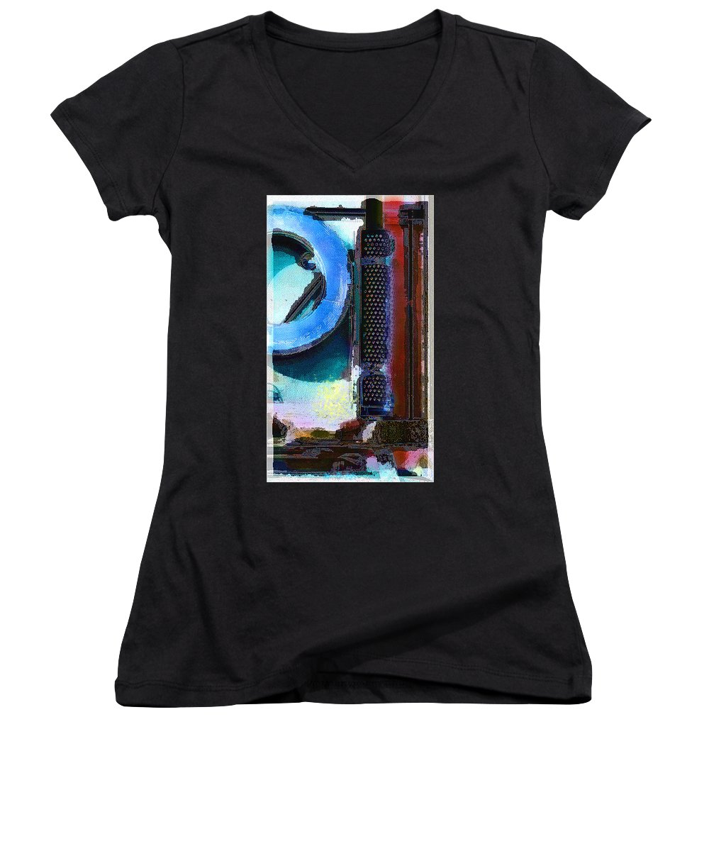 Abstract Women's V-Neck (Athletic Fit) featuring the photograph panel one from Centrifuge by Steve Karol