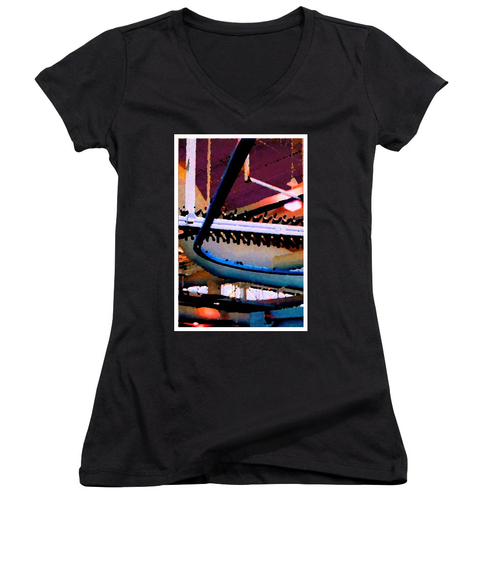 Abstract Women's V-Neck T-Shirt featuring the photograph Panel Three From Star Factory by Steve Karol
