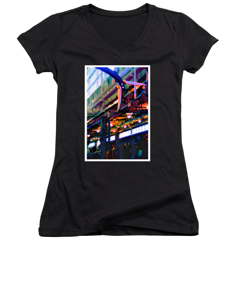 Abstract Women's V-Neck (Athletic Fit) featuring the photograph panel two from Star Factory by Steve Karol