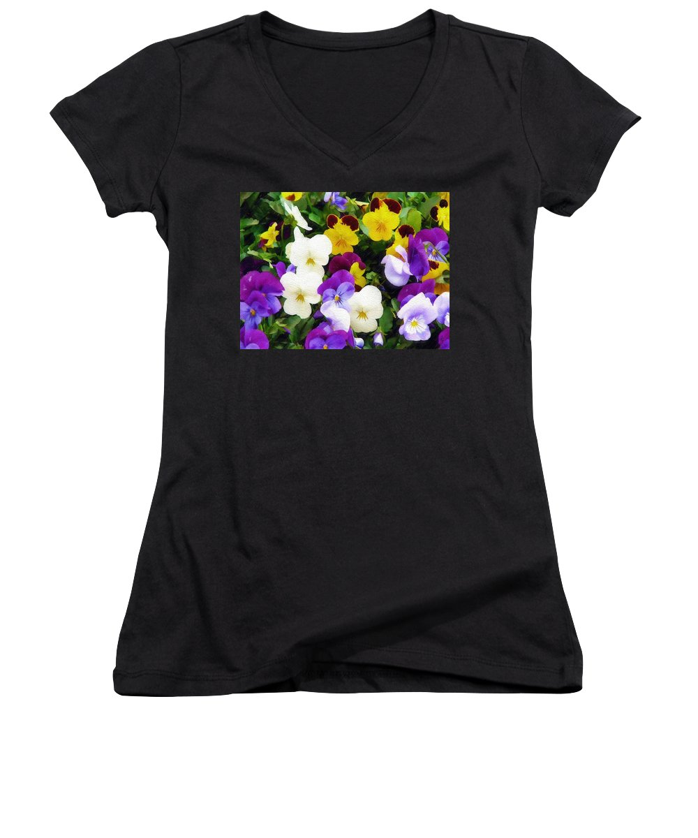 Pansies Women's V-Neck T-Shirt featuring the photograph Pansies by Sandy MacGowan