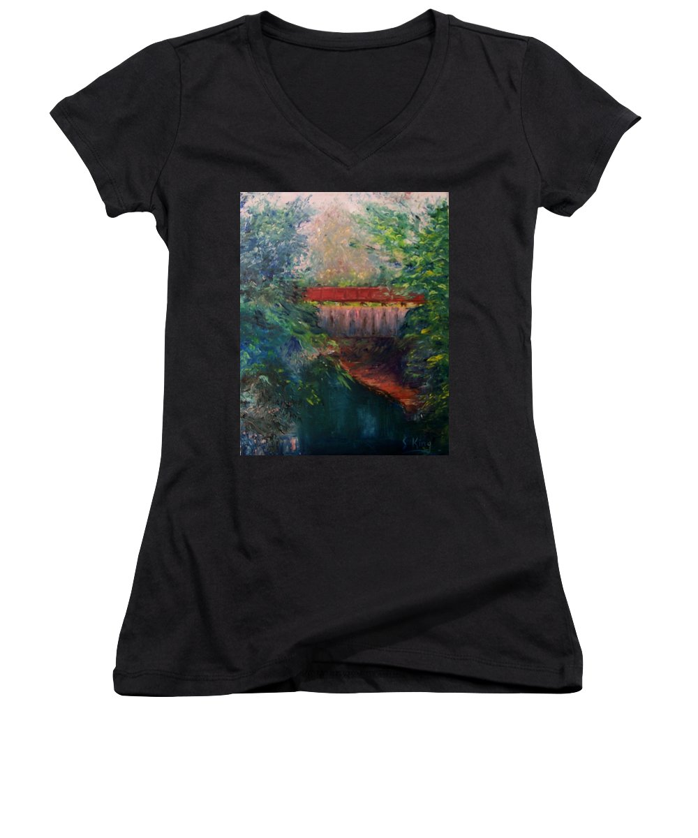 Landscape Women's V-Neck T-Shirt featuring the painting Parke County by Stephen King