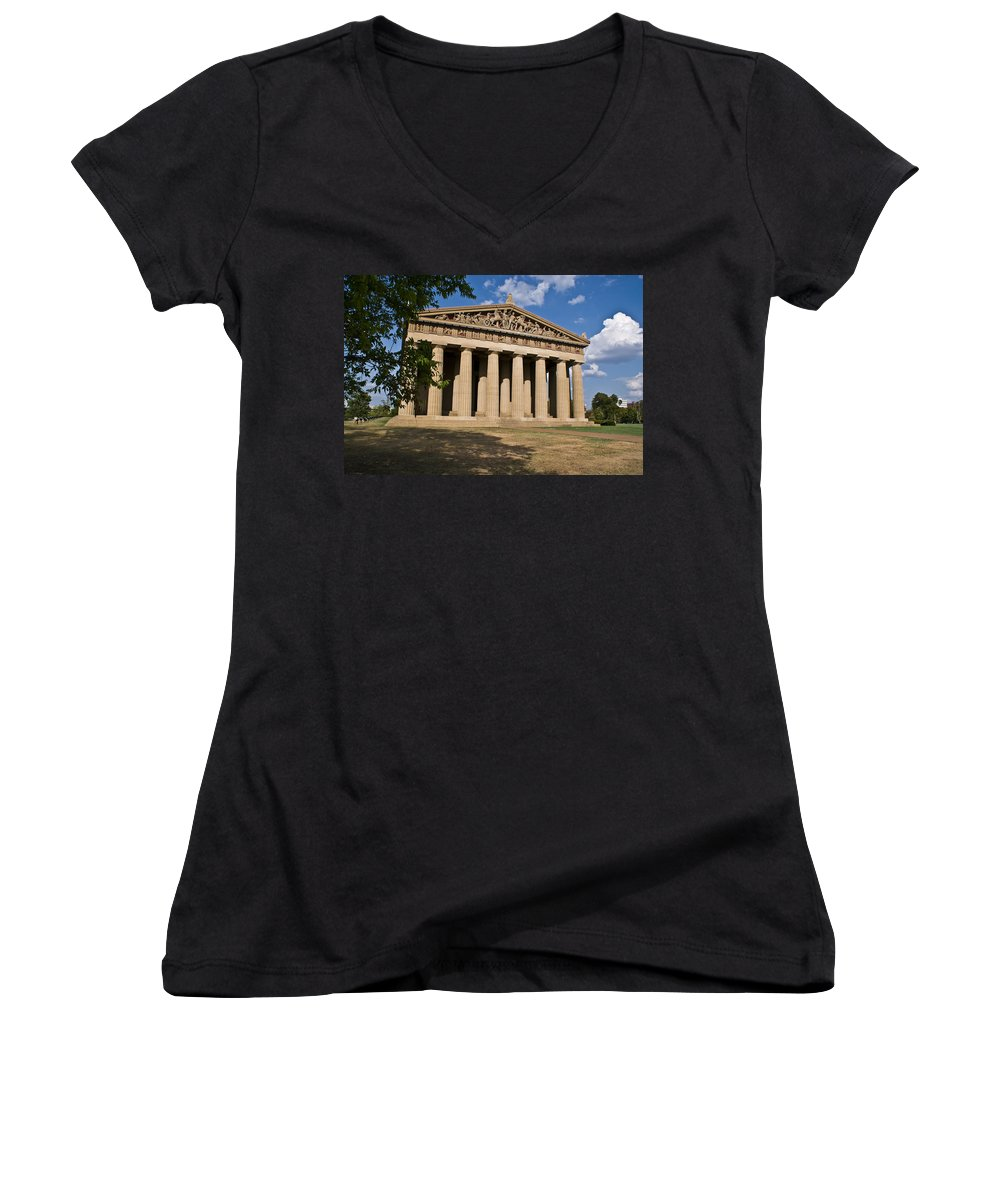 Parthenon Women's V-Neck T-Shirt featuring the photograph Parthenon Nashville Tennessee by Douglas Barnett