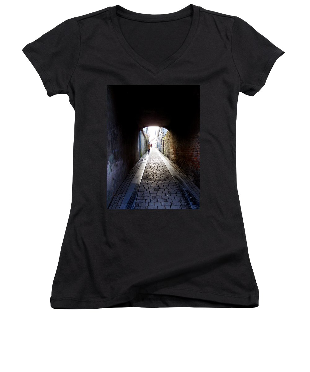 Cooblestone Women's V-Neck T-Shirt featuring the photograph Passage by Tim Nyberg