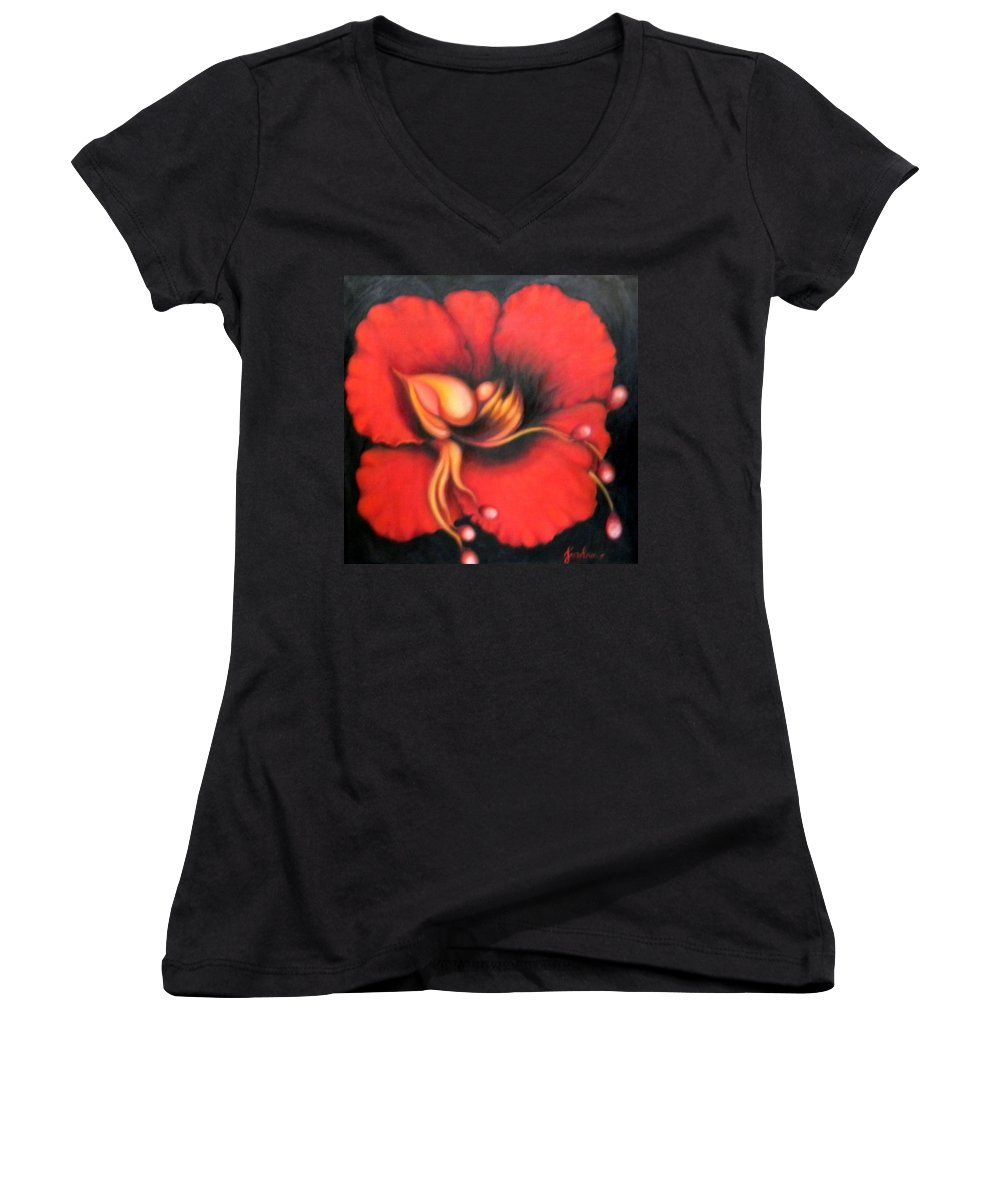 Red Surreal Bloom Artwork Women's V-Neck T-Shirt featuring the painting Passion Flower by Jordana Sands