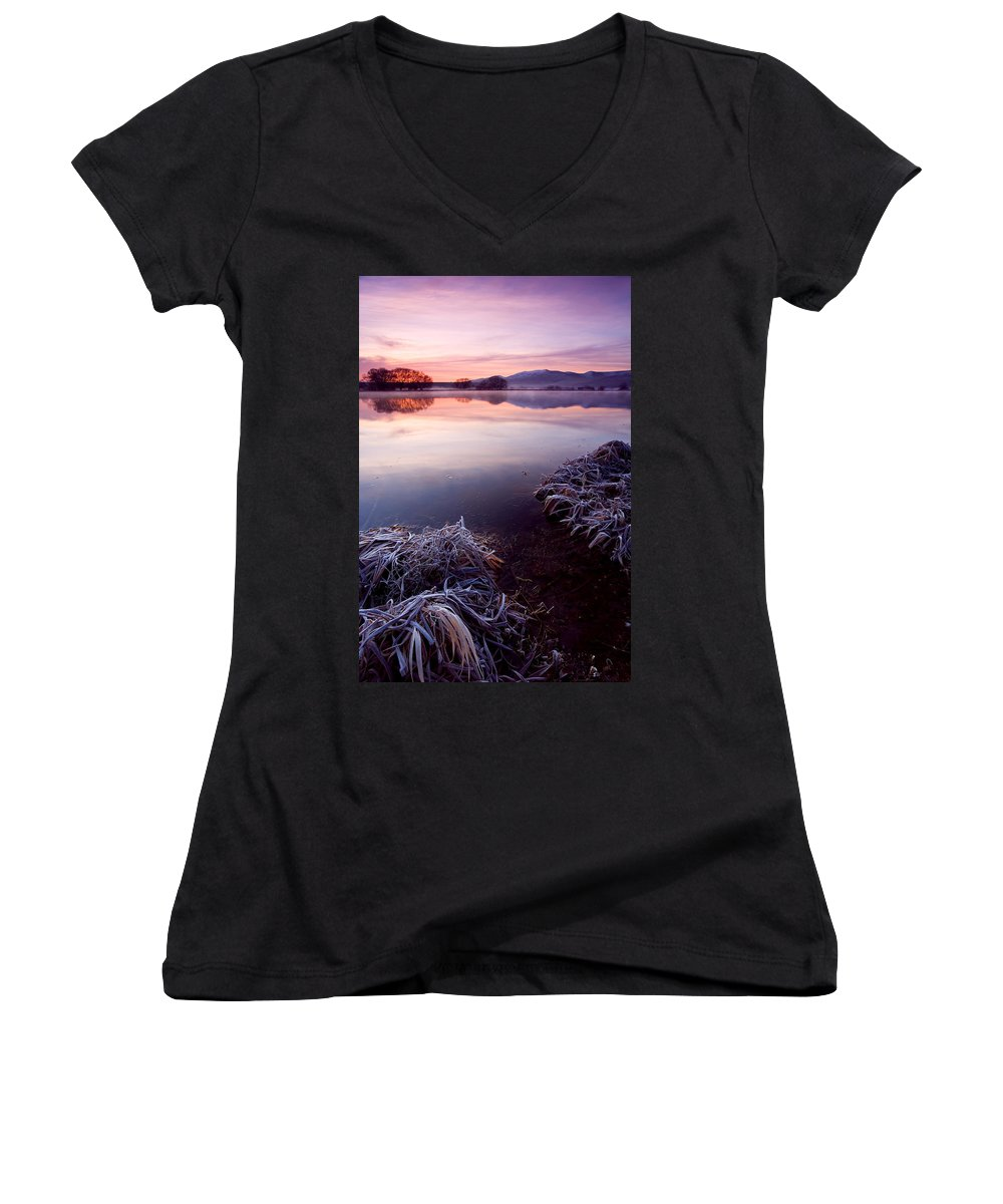 Lake Women's V-Neck T-Shirt featuring the photograph Pastel Dawn by Mike Dawson
