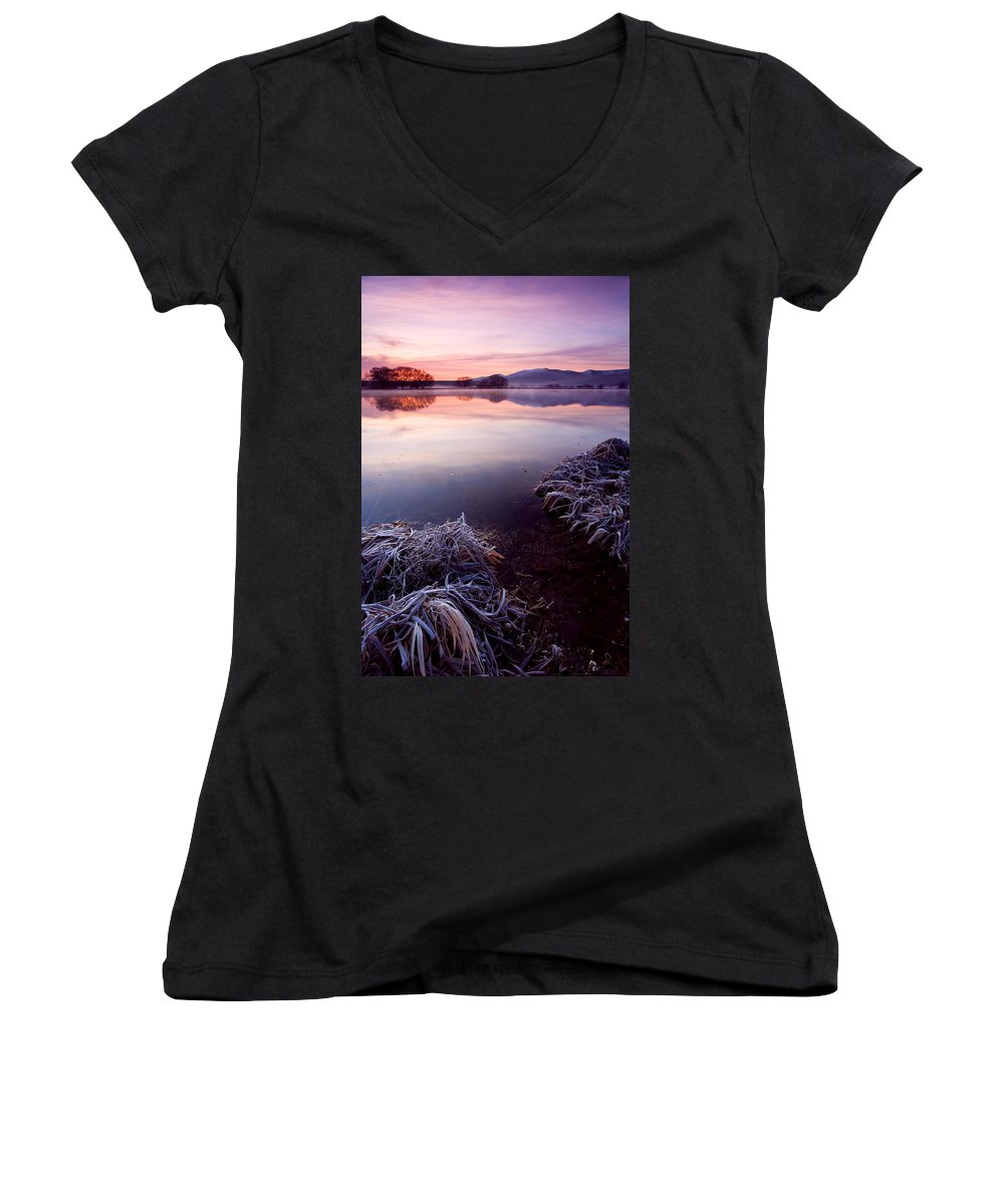 Lake Women's V-Neck (Athletic Fit) featuring the photograph Pastel Dawn by Mike Dawson