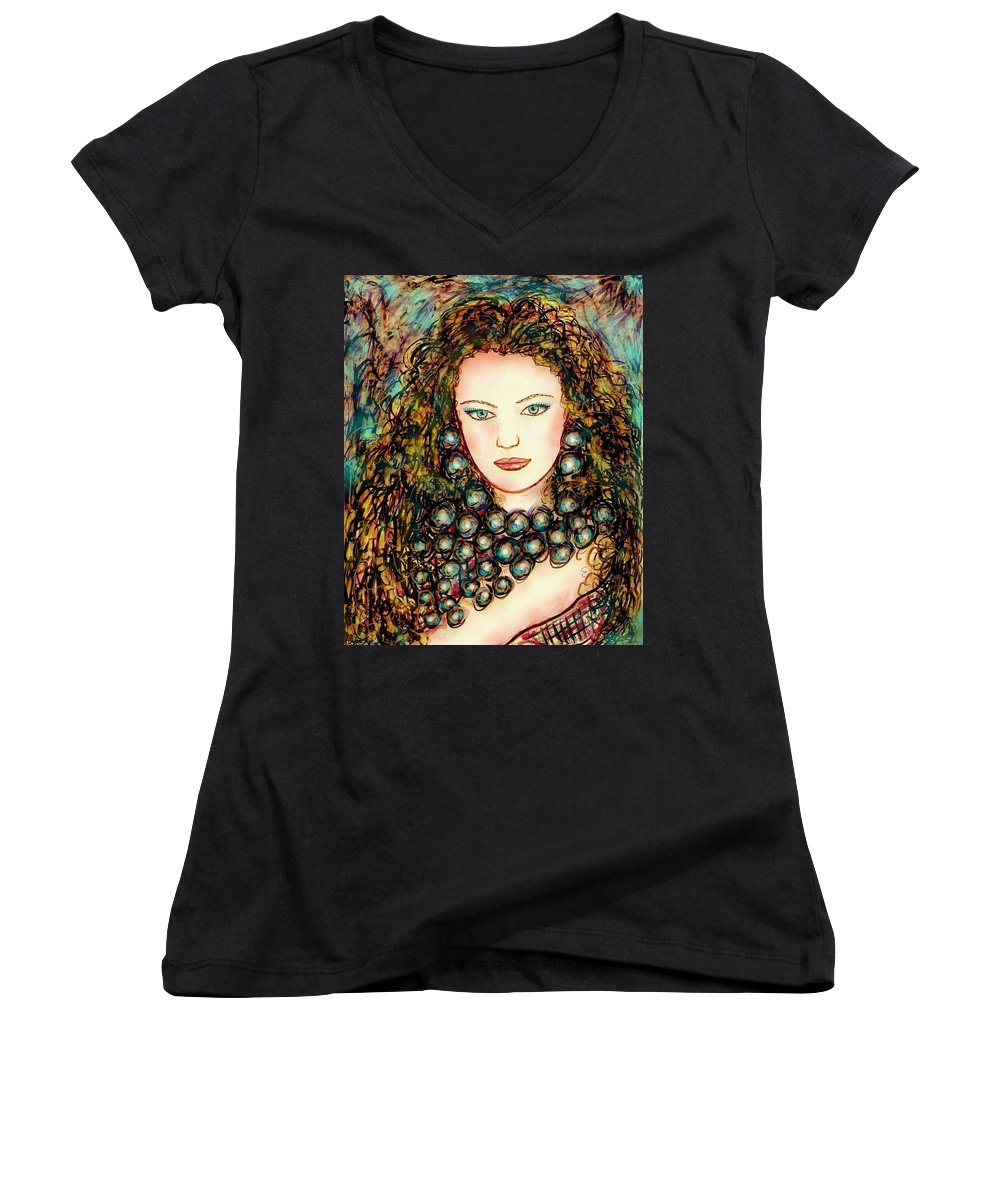Woman Women's V-Neck T-Shirt featuring the painting Paula by Natalie Holland