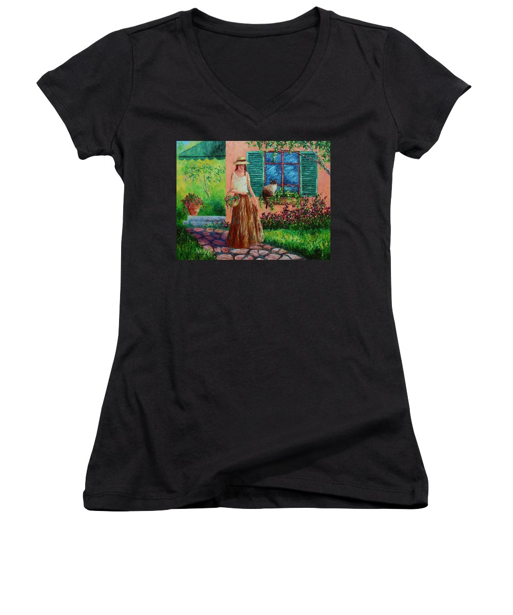 Woman Women's V-Neck T-Shirt featuring the painting Peaceful Thoughts by David G Paul