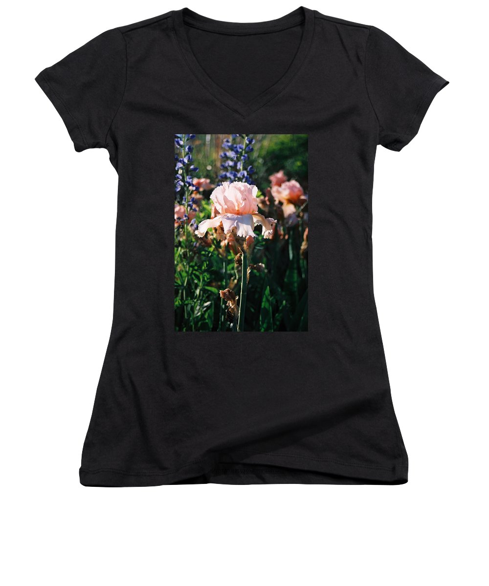Flower Women's V-Neck (Athletic Fit) featuring the photograph Peach Iris by Steve Karol