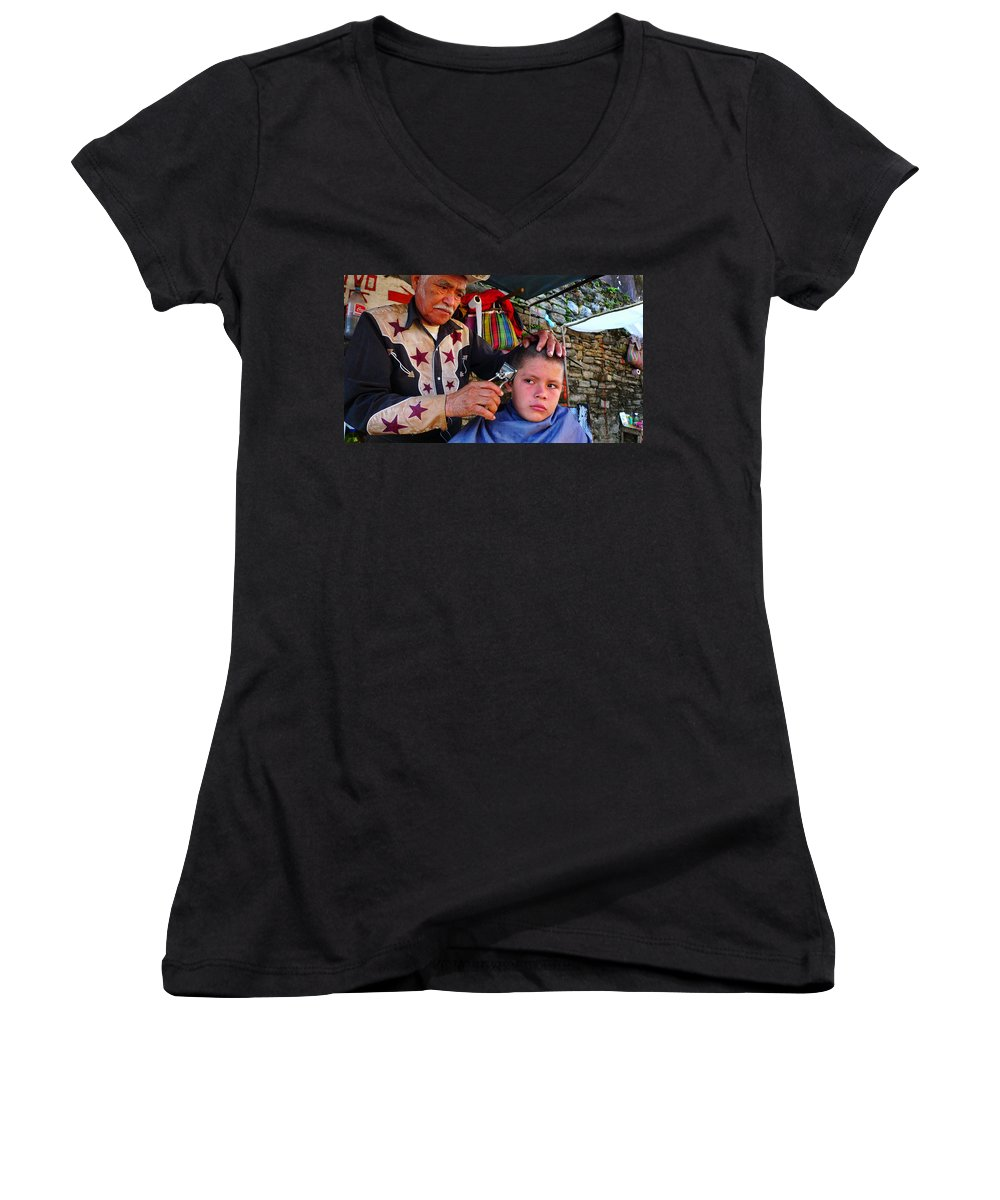 Skip Hunt Women's V-Neck T-Shirt featuring the photograph Peluquero Dos by Skip Hunt