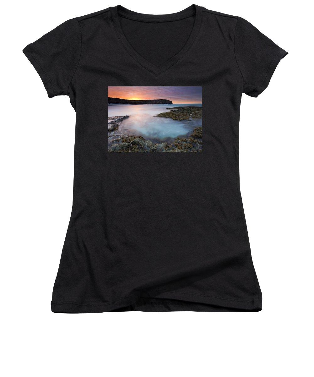 Dawn Women's V-Neck T-Shirt featuring the photograph Pennington Dawn by Mike Dawson