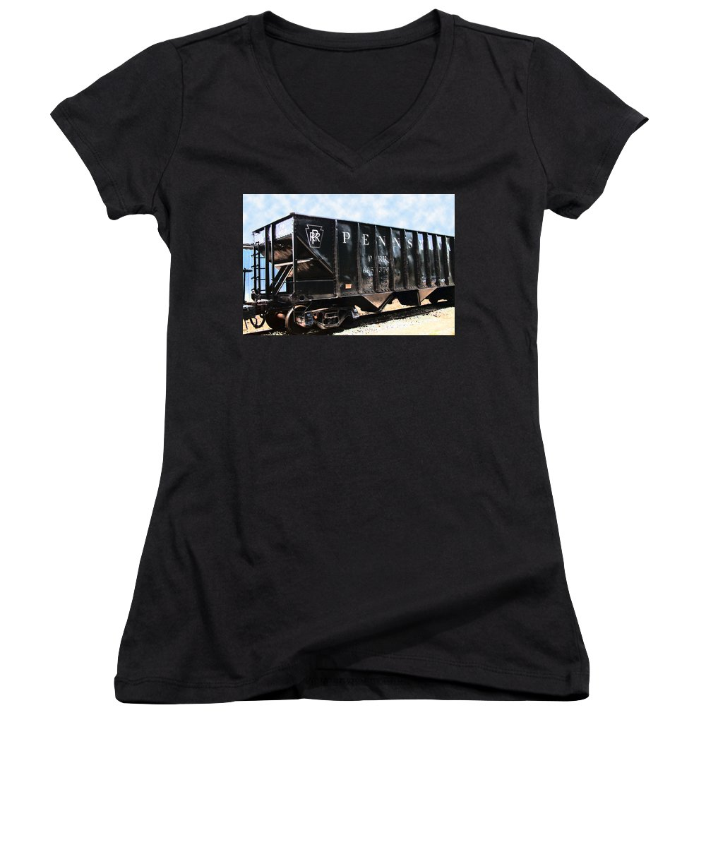 Trains Women's V-Neck (Athletic Fit) featuring the photograph Pennsylvania Hopper by RC DeWinter