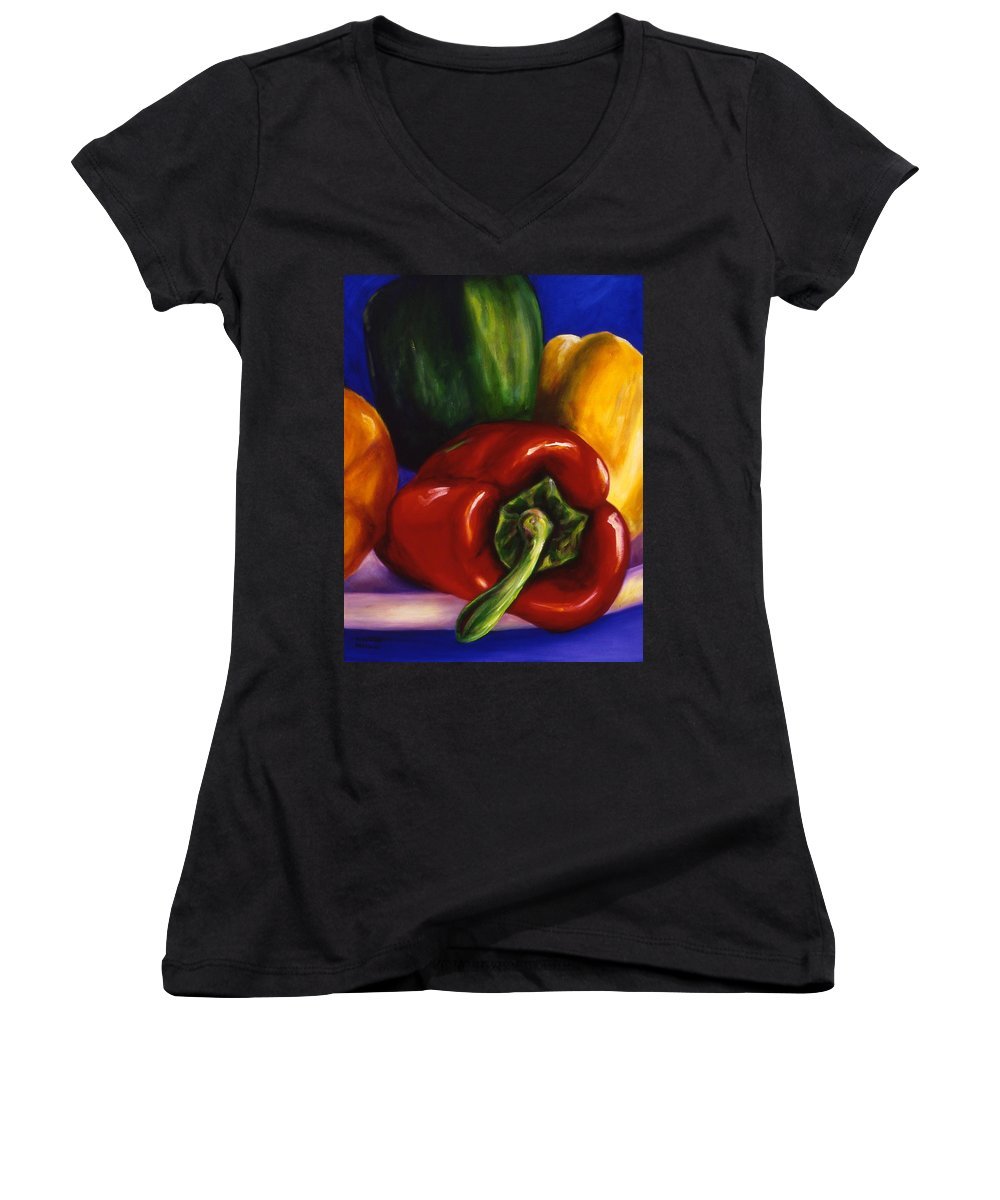 Still Life Women's V-Neck T-Shirt featuring the painting Peppers On Peppers by Shannon Grissom
