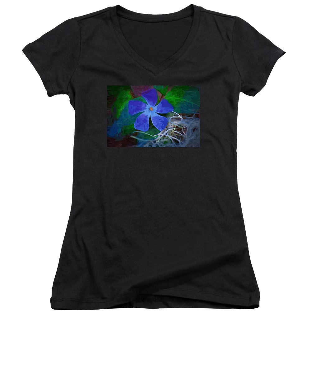 Flower Women's V-Neck T-Shirt featuring the digital art Periwinkle Blue by Donna Bentley