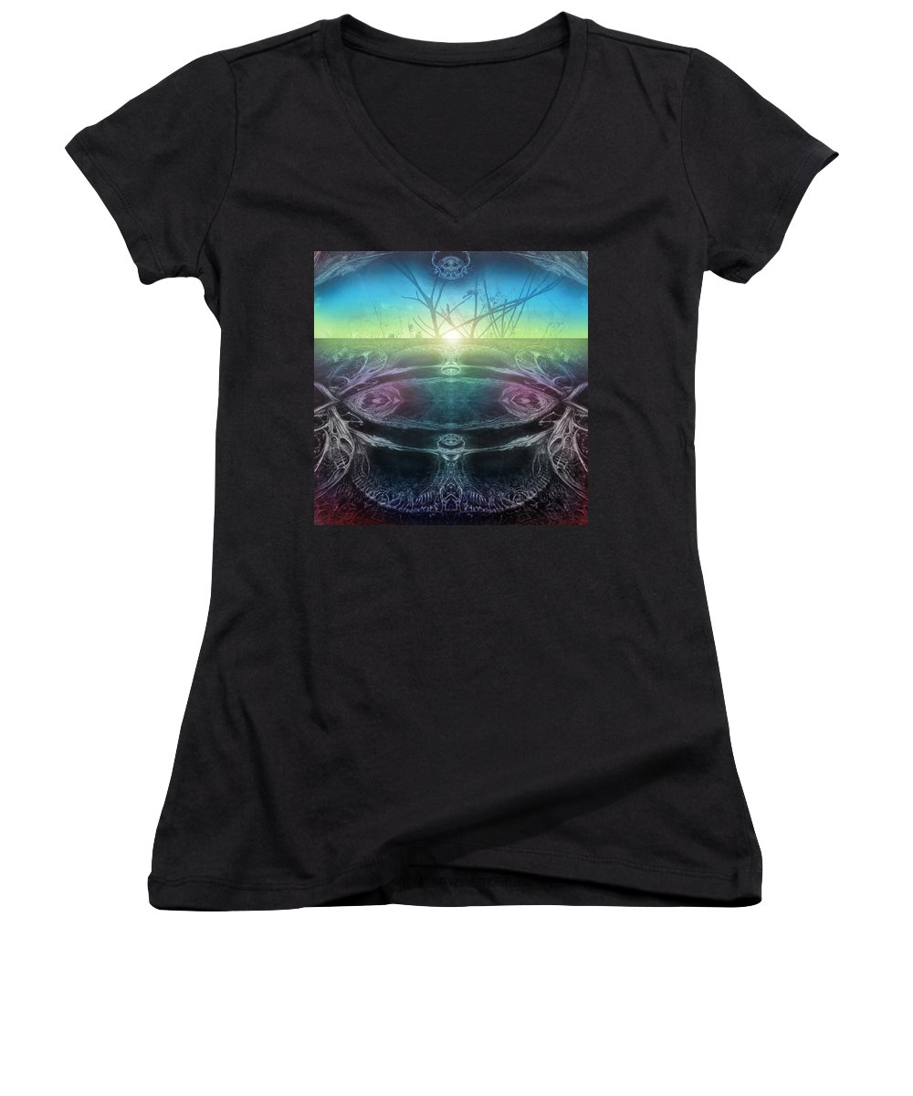 Digital Women's V-Neck (Athletic Fit) featuring the digital art Perpetual Motion Landscape by Otto Rapp
