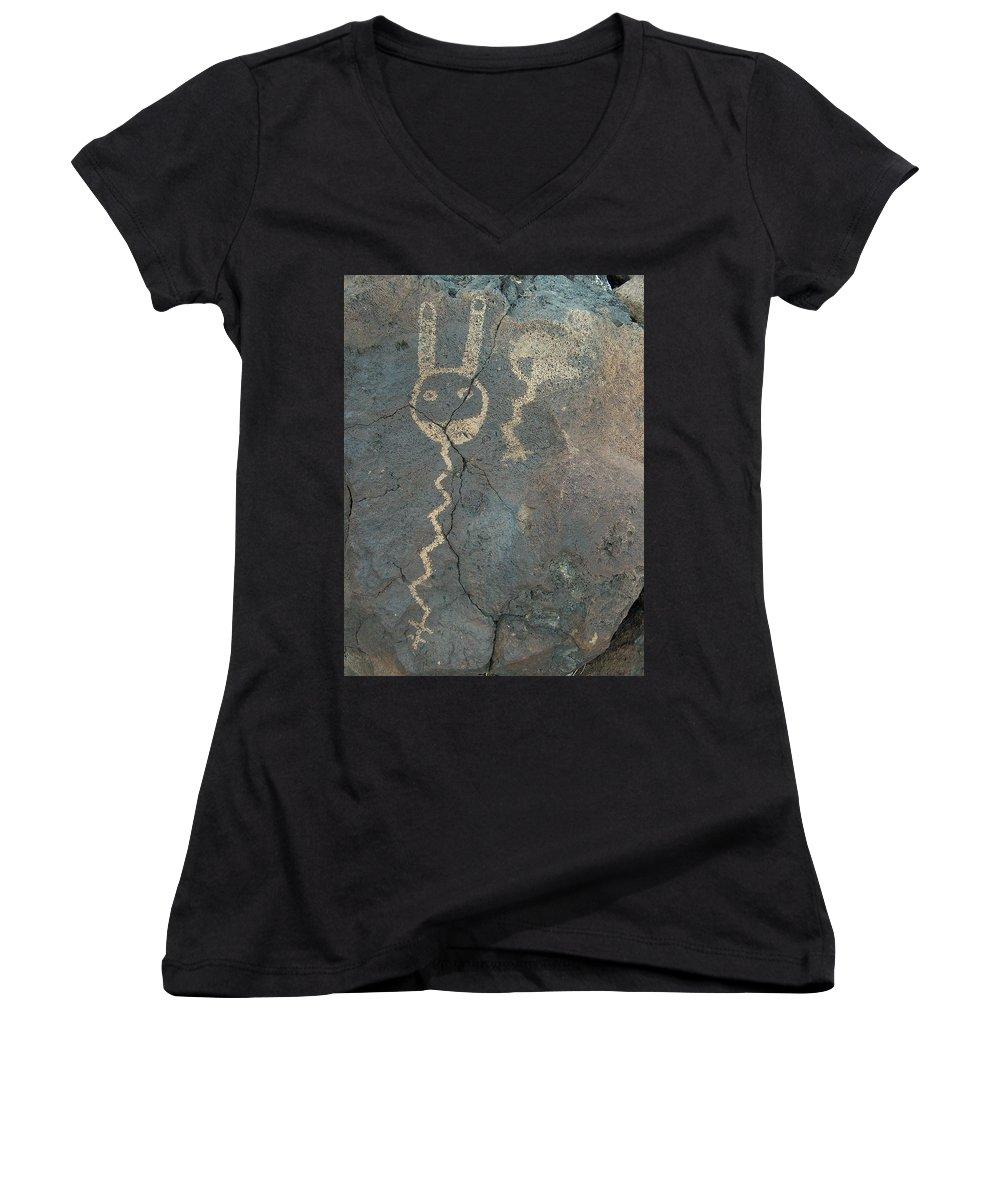 Petroglyph Women's V-Neck T-Shirt featuring the photograph Petroglyph Series 1 by Tim McCarthy