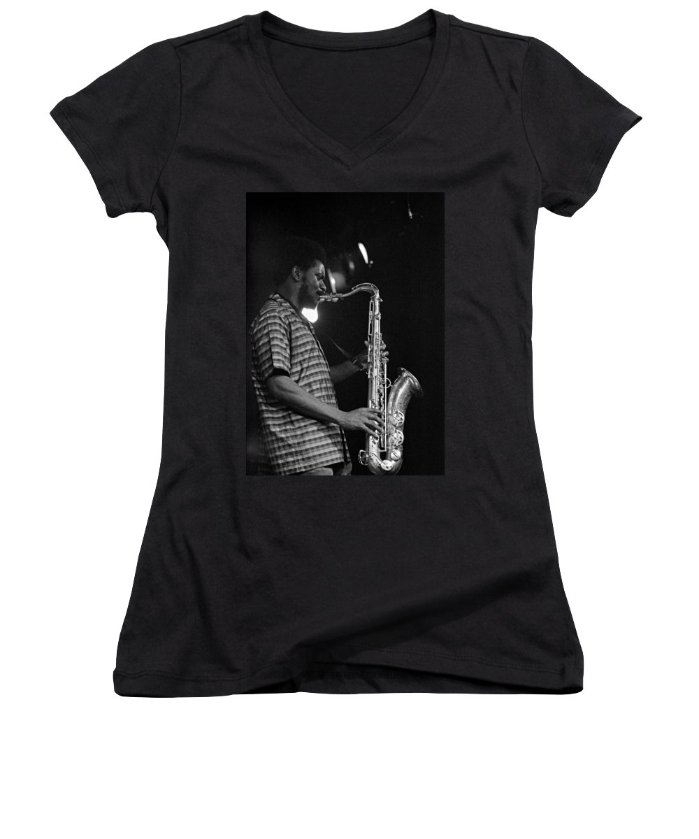 Pharoah Sanders Women's V-Neck T-Shirt featuring the photograph Pharoah Sanders 2 by Lee Santa
