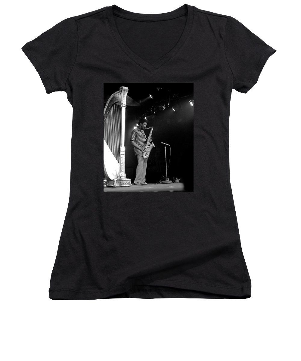 Pharoah Sanders Women's V-Neck T-Shirt featuring the photograph Pharoah Sanders 5 by Lee Santa
