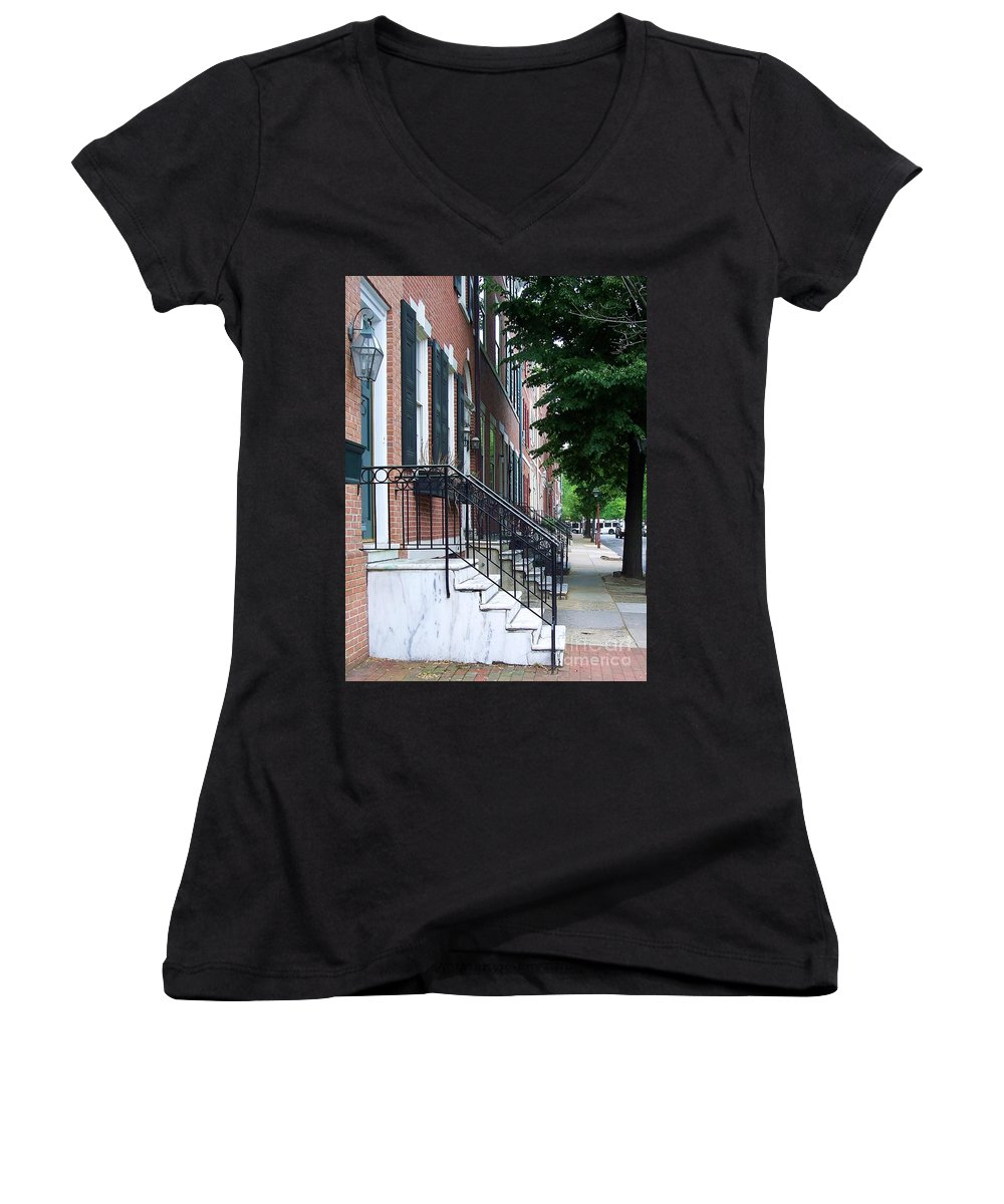 Architecture Women's V-Neck T-Shirt featuring the photograph Philadelphia Neighborhood by Debbi Granruth