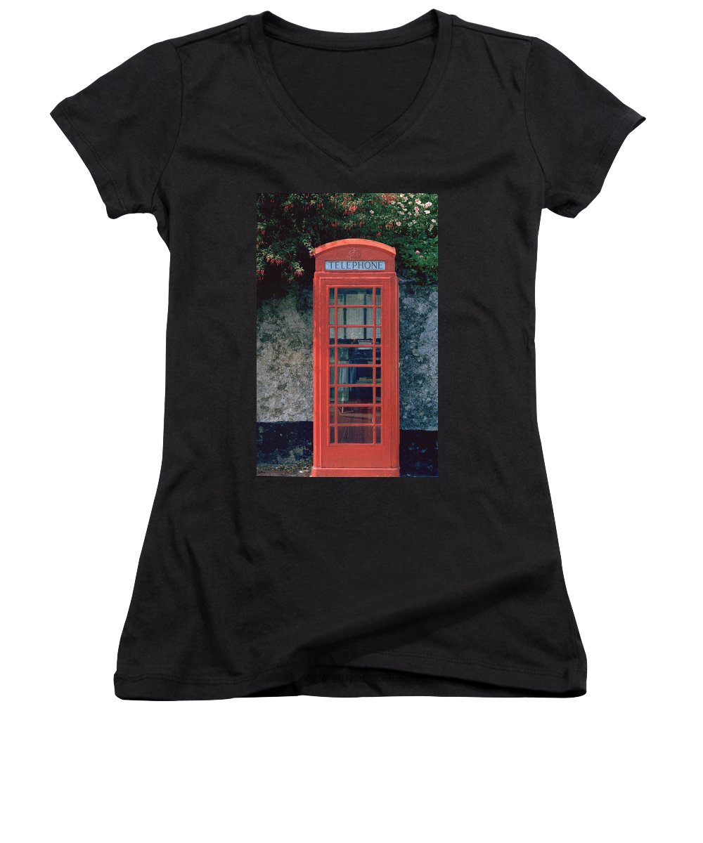 Great Britain Women's V-Neck (Athletic Fit) featuring the photograph Phone Booth by Flavia Westerwelle