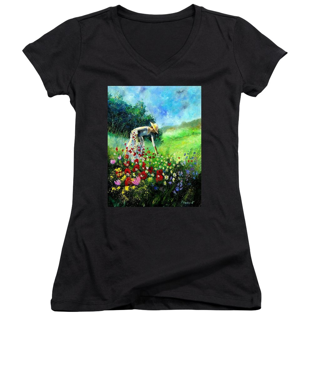 Poppies Women's V-Neck (Athletic Fit) featuring the painting Picking Flower by Pol Ledent