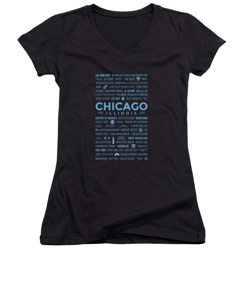 Wrigley Field Junior V-Neck T-Shirts
