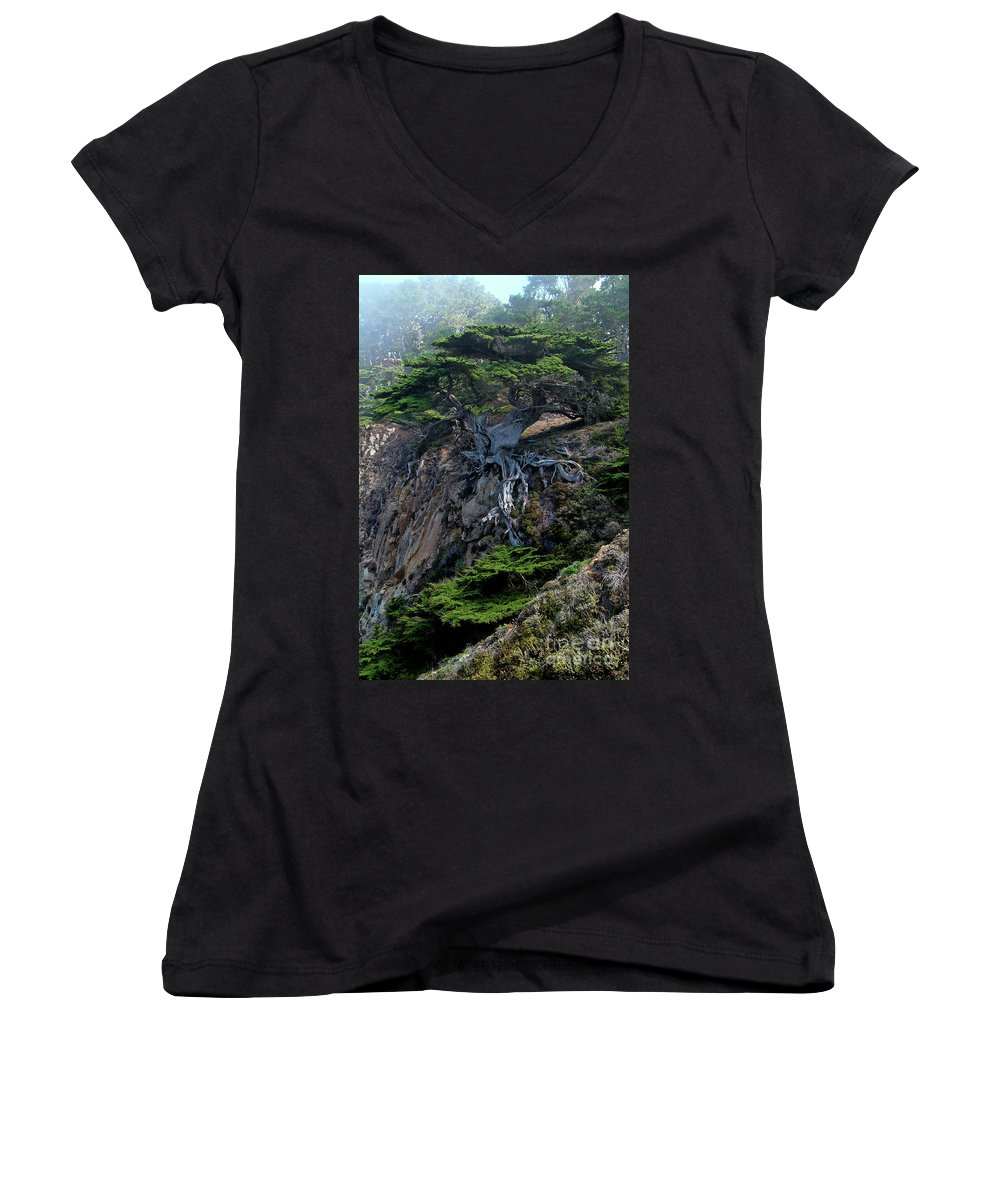 Landscape Women's V-Neck (Athletic Fit) featuring the photograph Point Lobos Veteran Cypress Tree by Charlene Mitchell