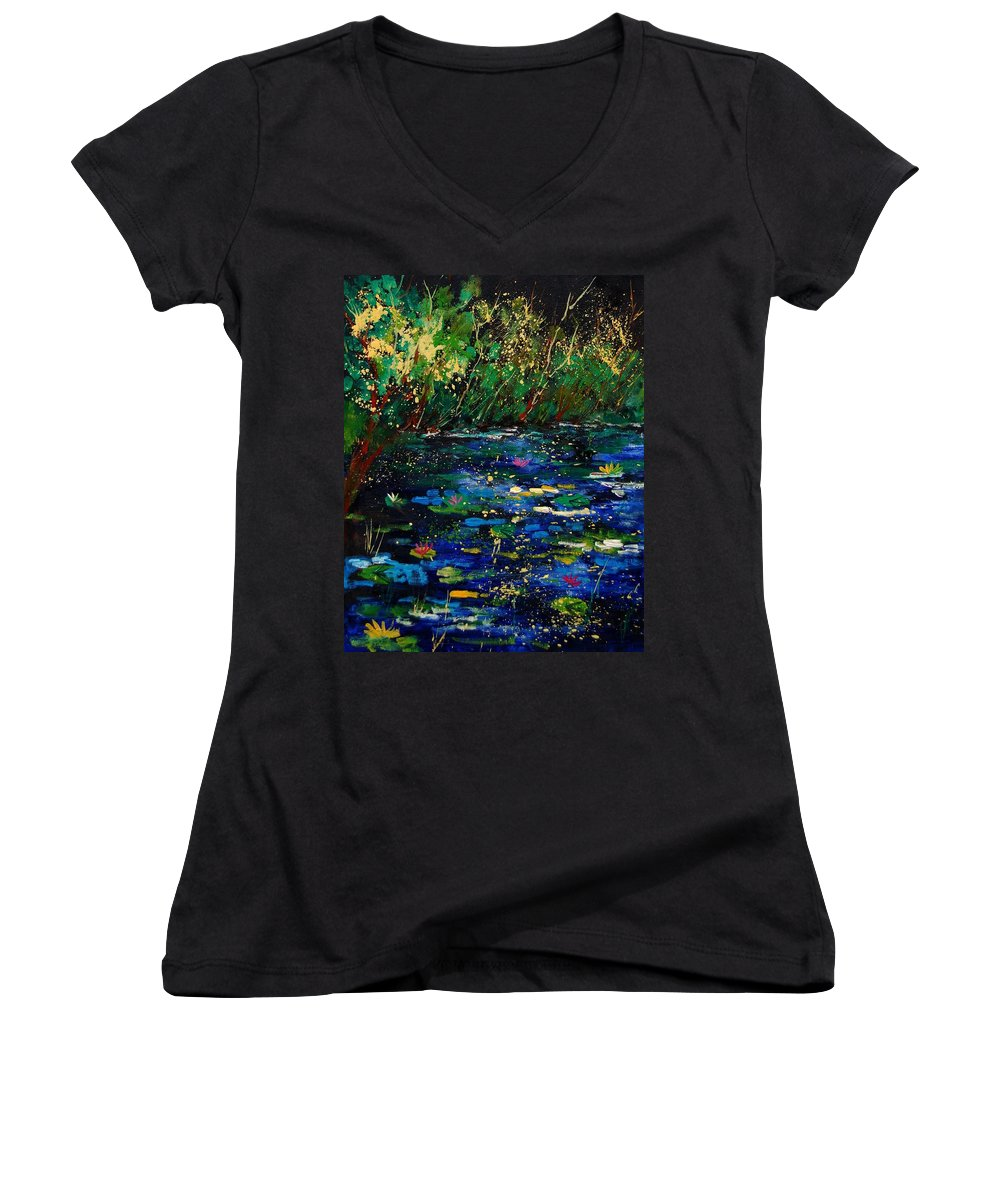 Water Women's V-Neck T-Shirt featuring the painting Pond 459030 by Pol Ledent