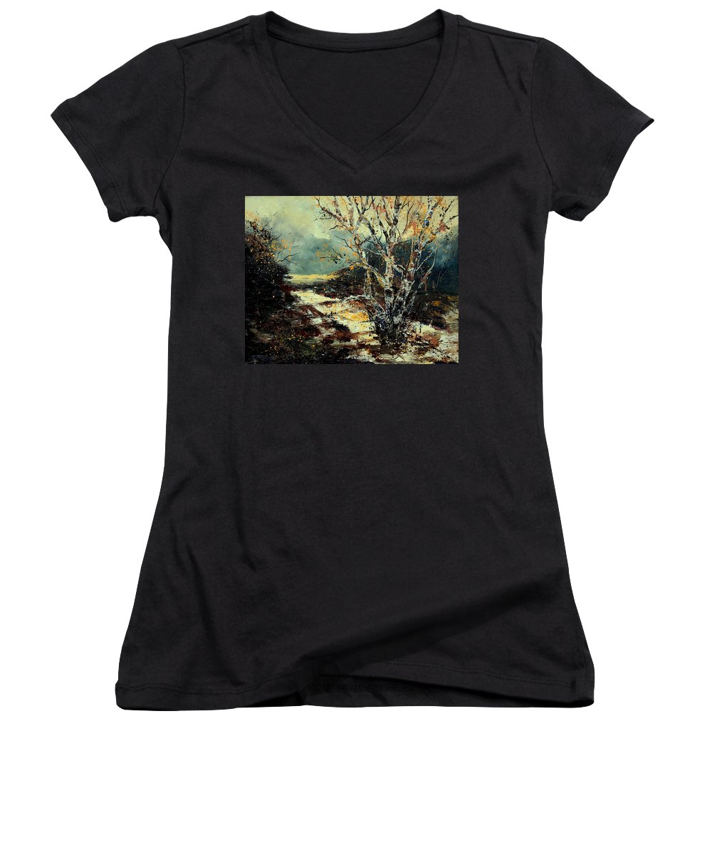 Tree Women's V-Neck T-Shirt featuring the painting Poplars 45 by Pol Ledent