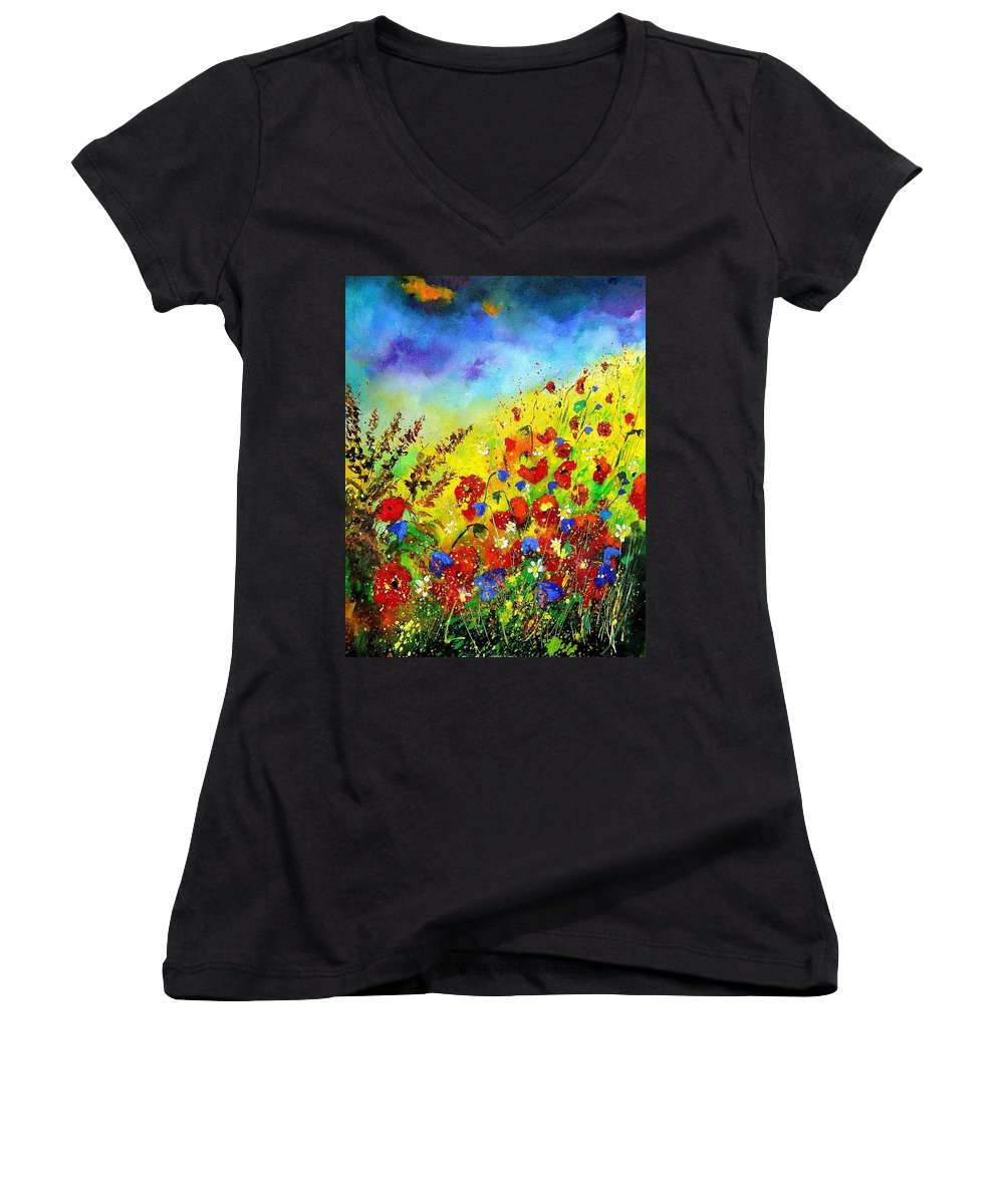 Poppies Women's V-Neck T-Shirt featuring the print Poppies And Blue Bells by Pol Ledent