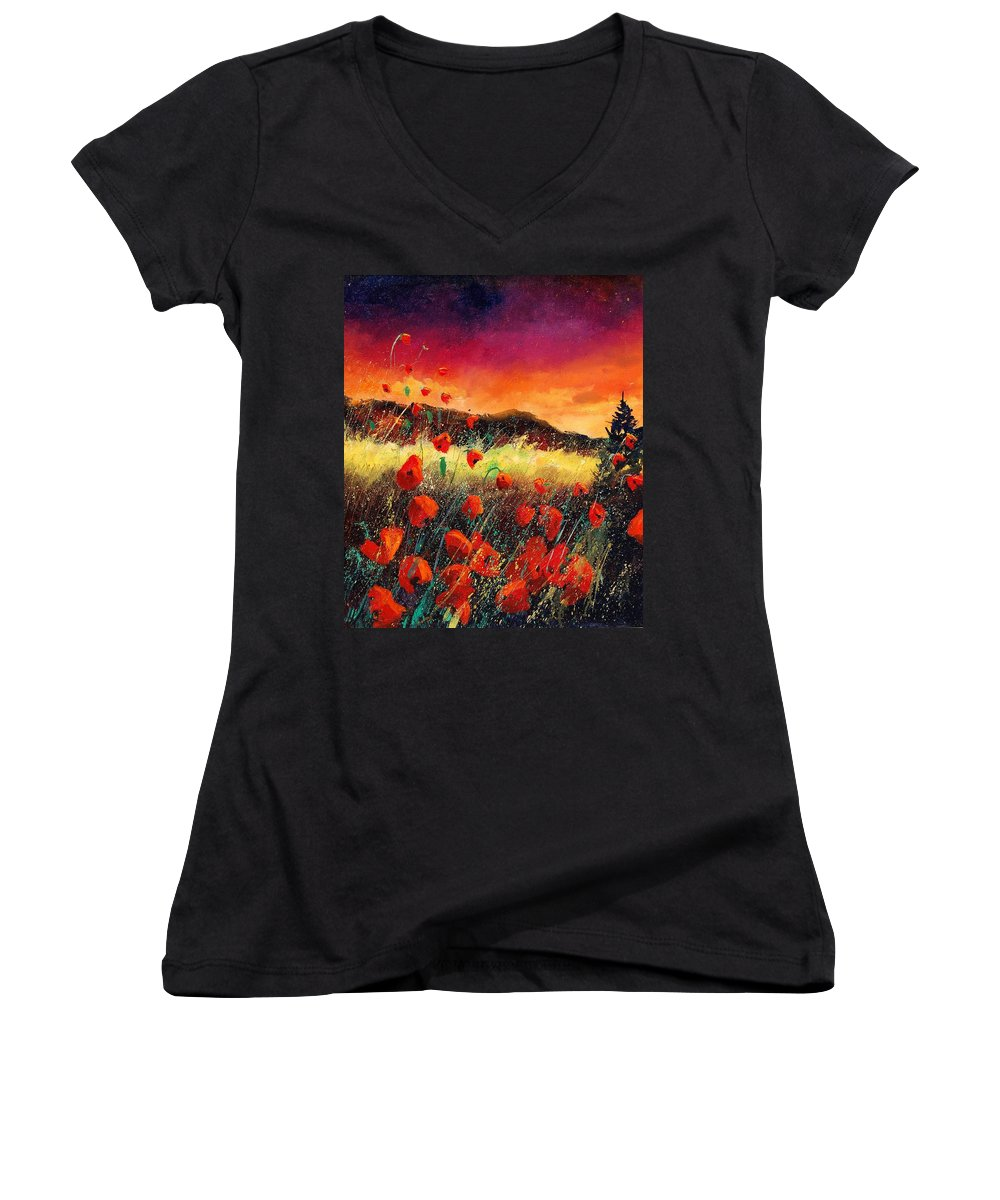 Poppies Women's V-Neck T-Shirt featuring the painting Poppies At Sunset 67 by Pol Ledent
