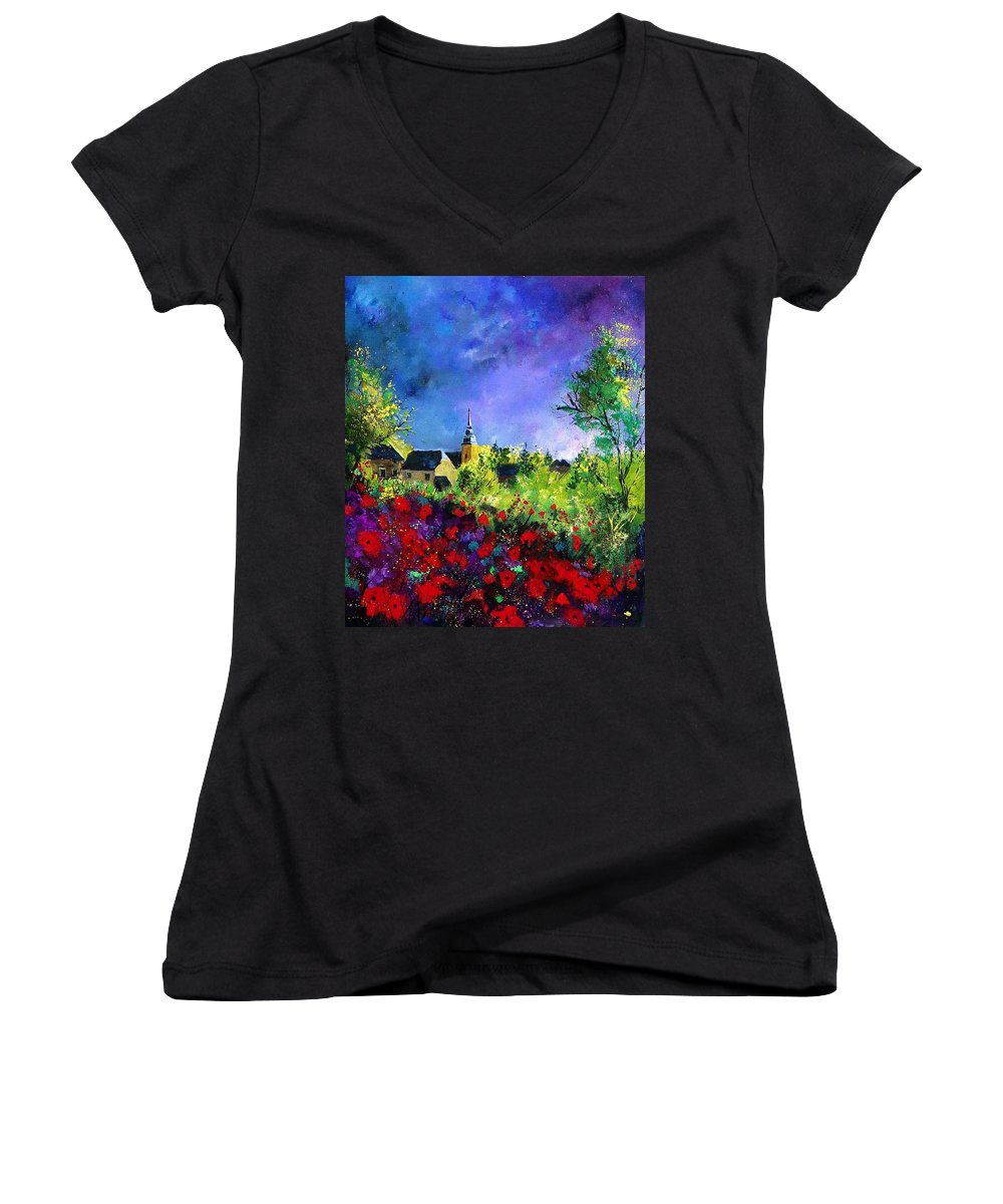 Flowers Women's V-Neck T-Shirt featuring the painting Poppies In Villers by Pol Ledent
