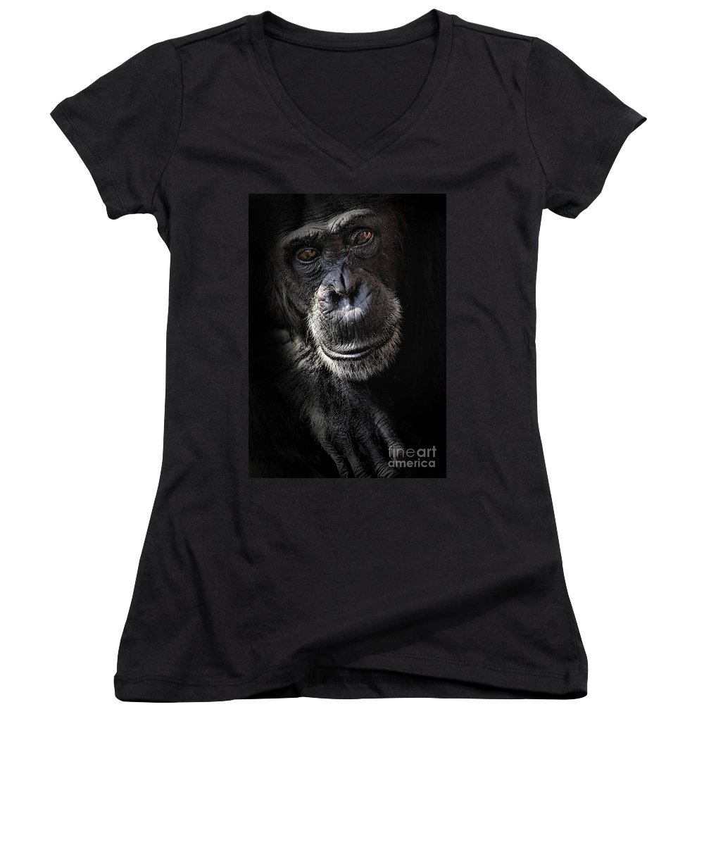 Chimp Women's V-Neck (Athletic Fit) featuring the photograph Portrait Of A Chimpanzee by Sheila Smart Fine Art Photography