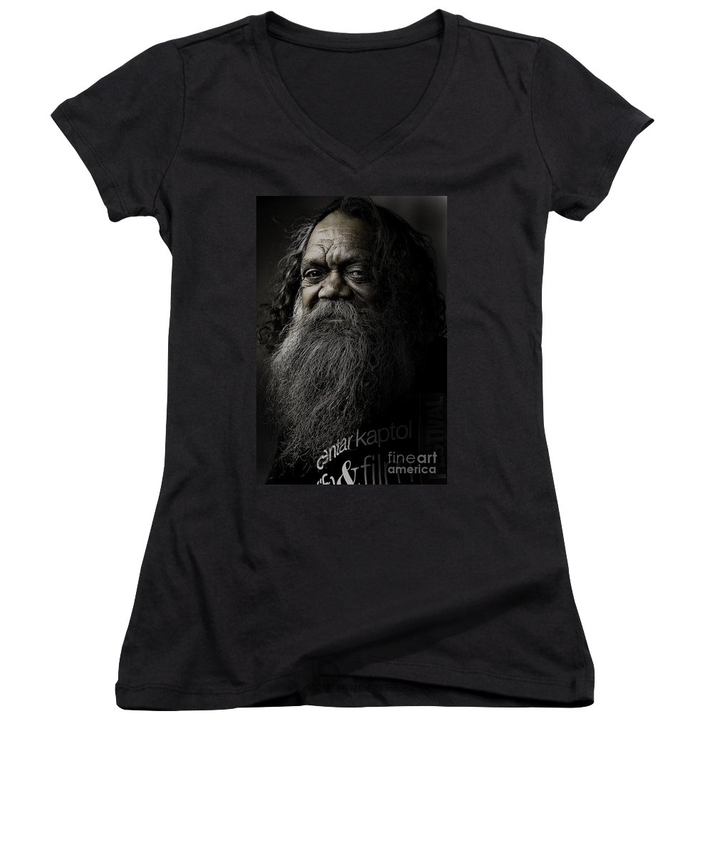 Aboriginal Women's V-Neck (Athletic Fit) featuring the photograph Portrait Of Cedric by Sheila Smart Fine Art Photography