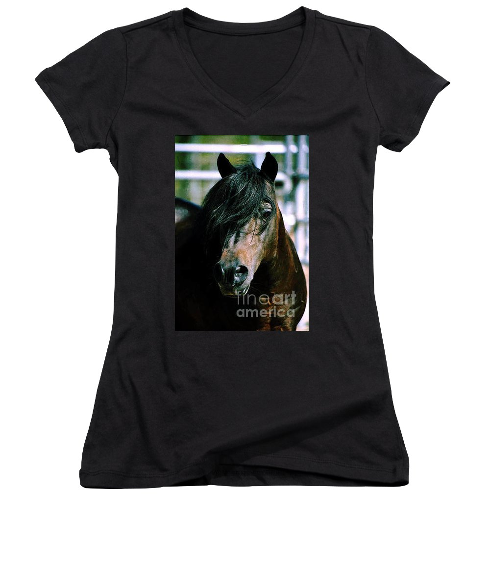 Horse Women's V-Neck (Athletic Fit) featuring the photograph Portrait Of His Majesty - The King by Kathy McClure