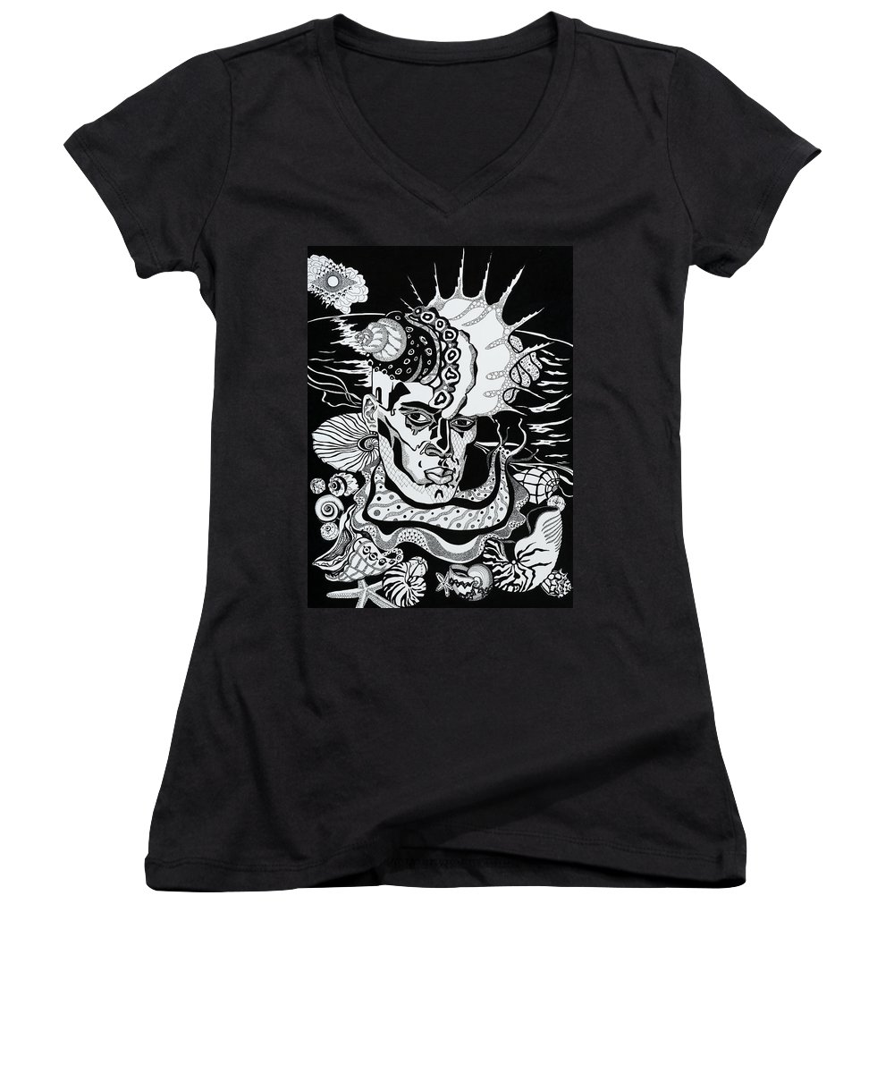Surreal Women's V-Neck T-Shirt featuring the drawing Poseidon by Yelena Tylkina